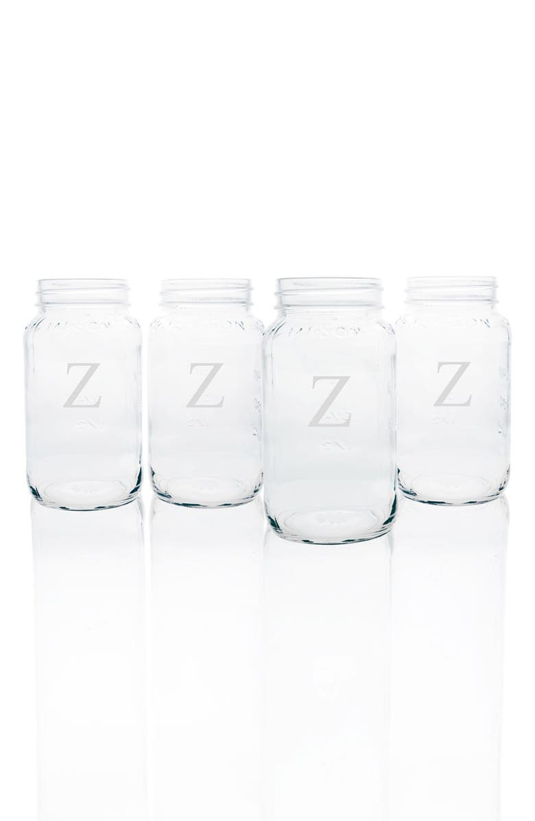 cathy s concepts monogram glass mason jar mugs set of 4 nordstrom