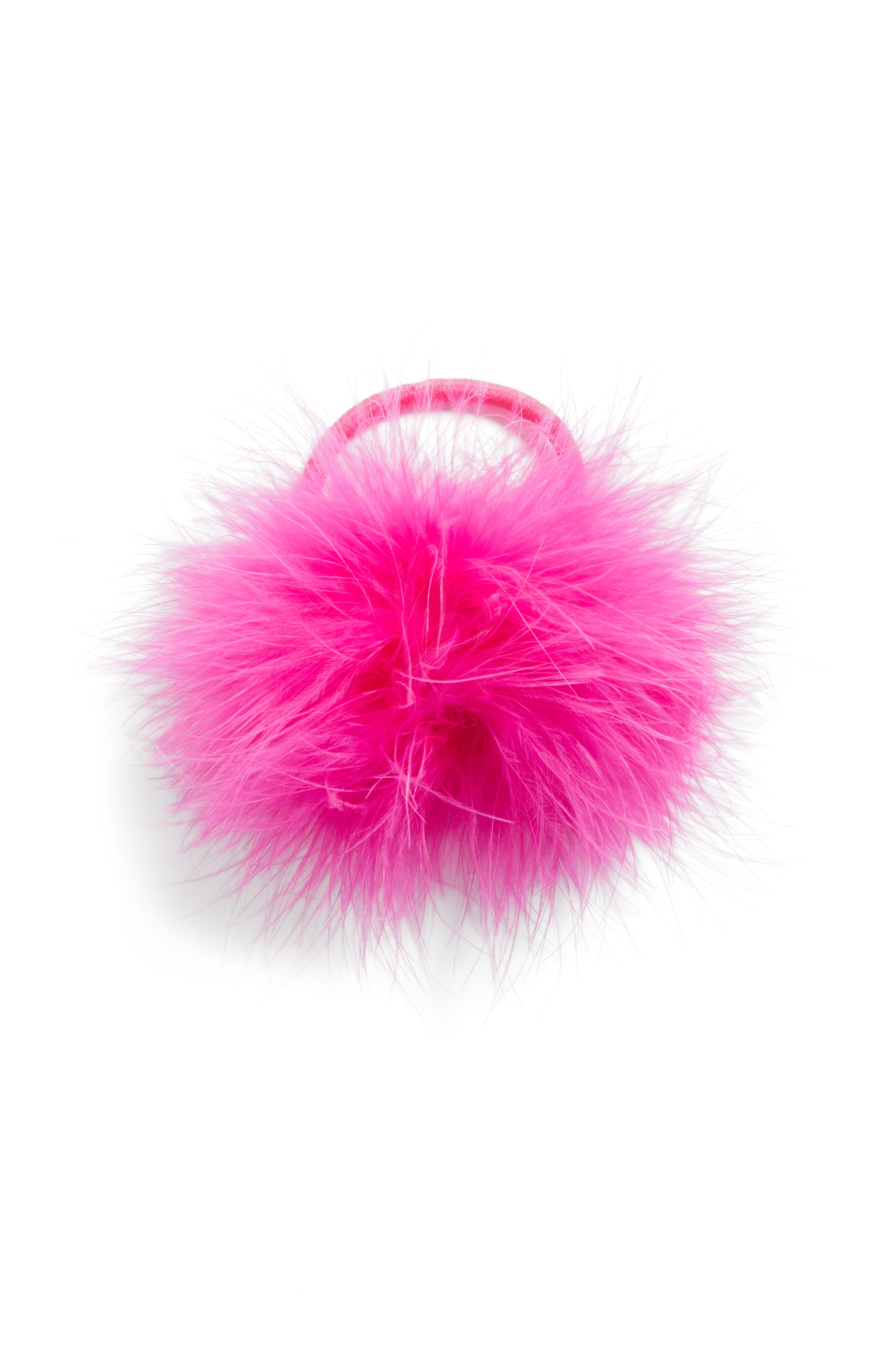 Feather Pompom Ponytail Holder,                             Main thumbnail 2, color,