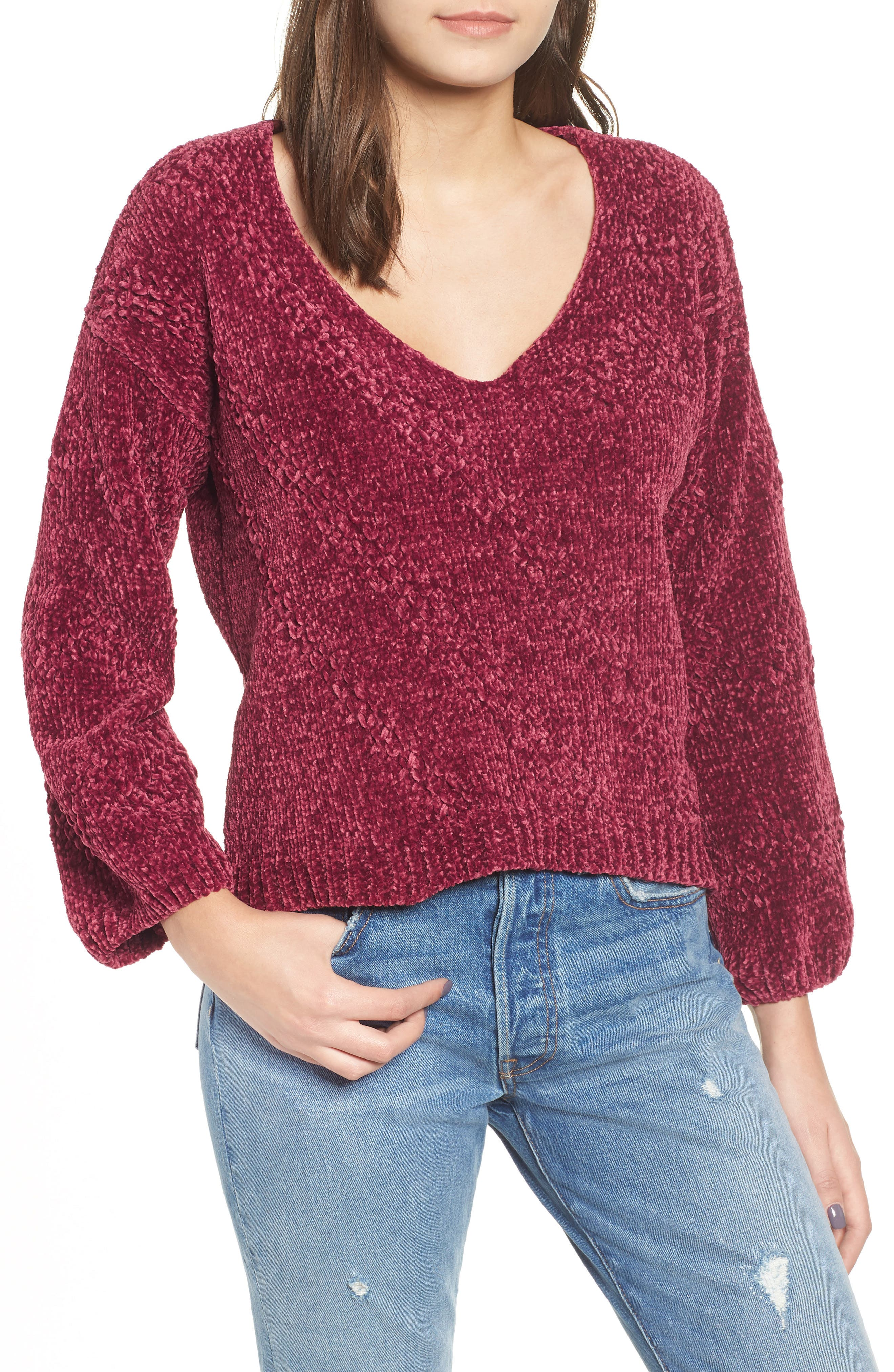 Chenille Plunging Sweater,                             Main thumbnail 1, color,                             500
