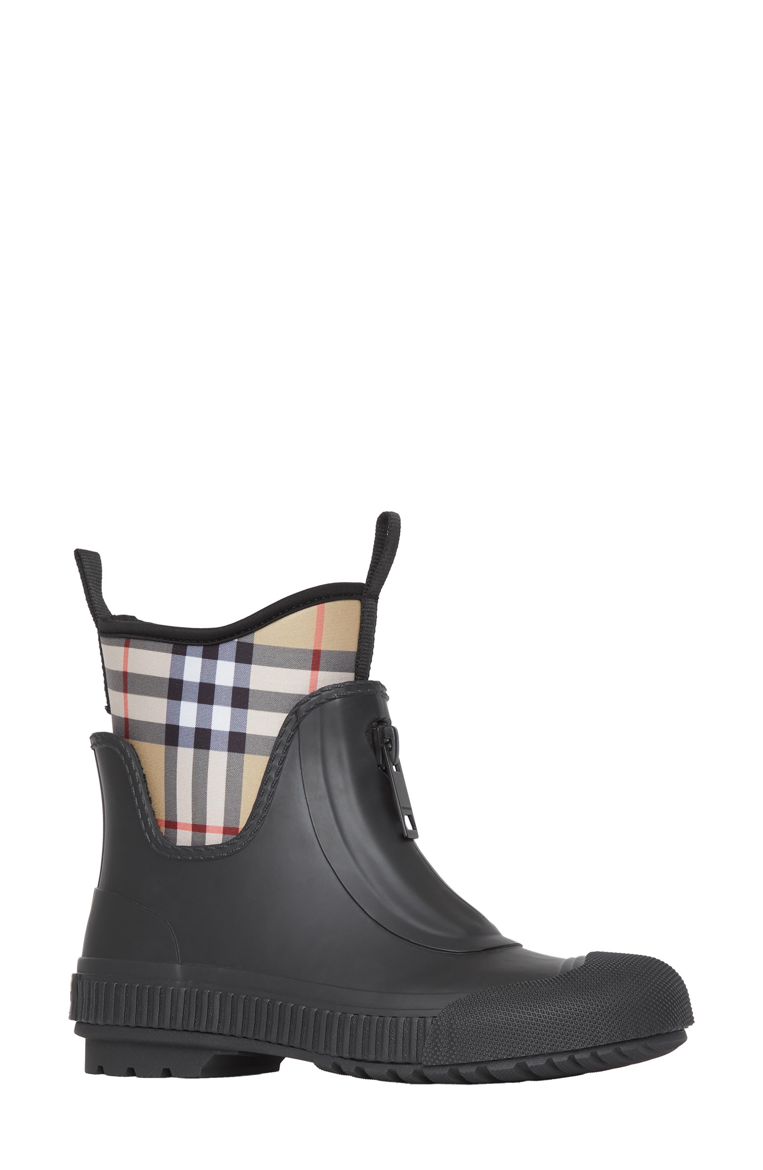 Burberry Flinton Check Waterproof Rain Boot, Black