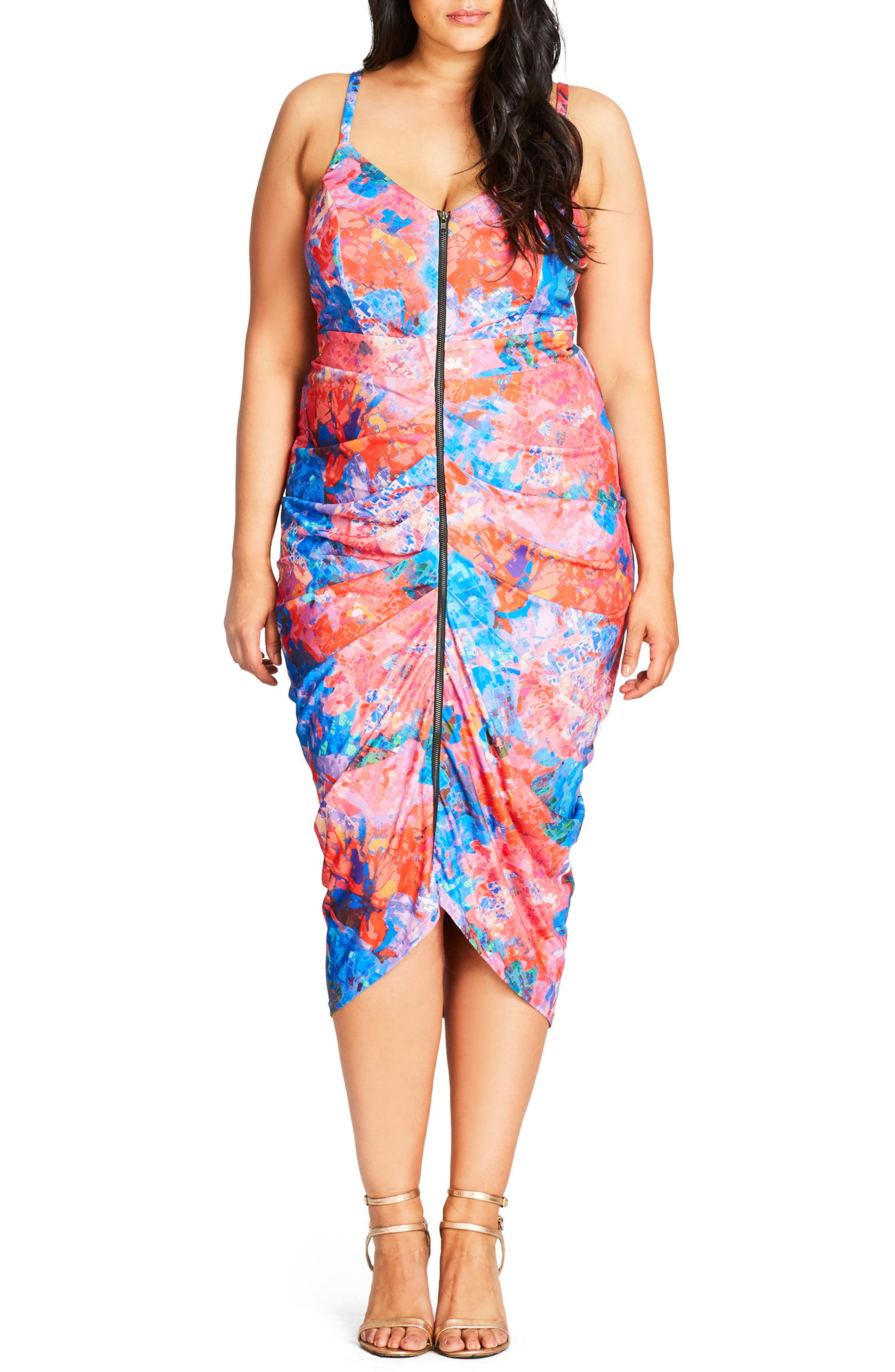 Zip Front Body-Con Dress,                         Main,                         color, 001
