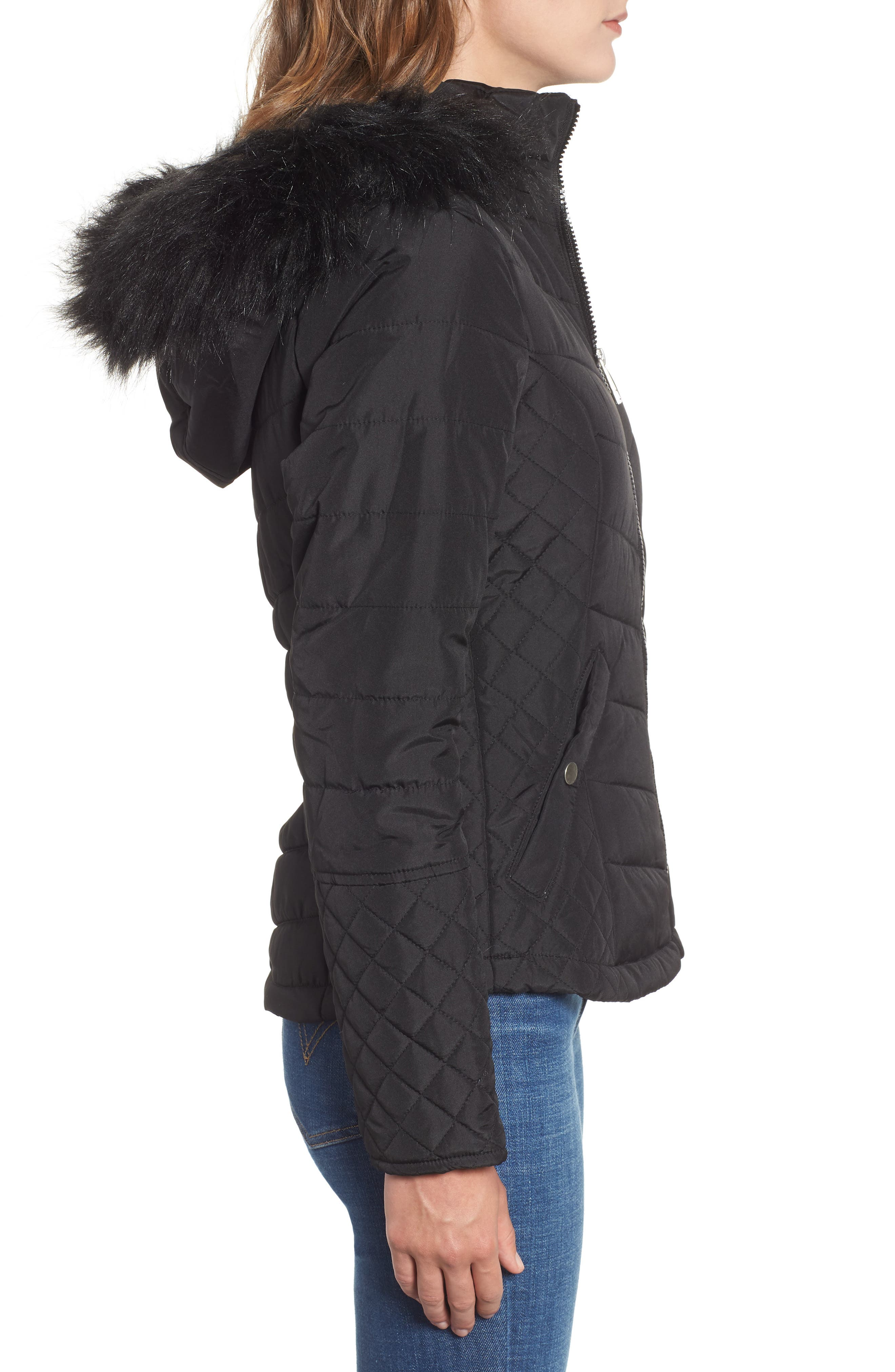 Water-Resistant Hooded Coat with Faux Fur Trim,                             Alternate thumbnail 3, color,                             001