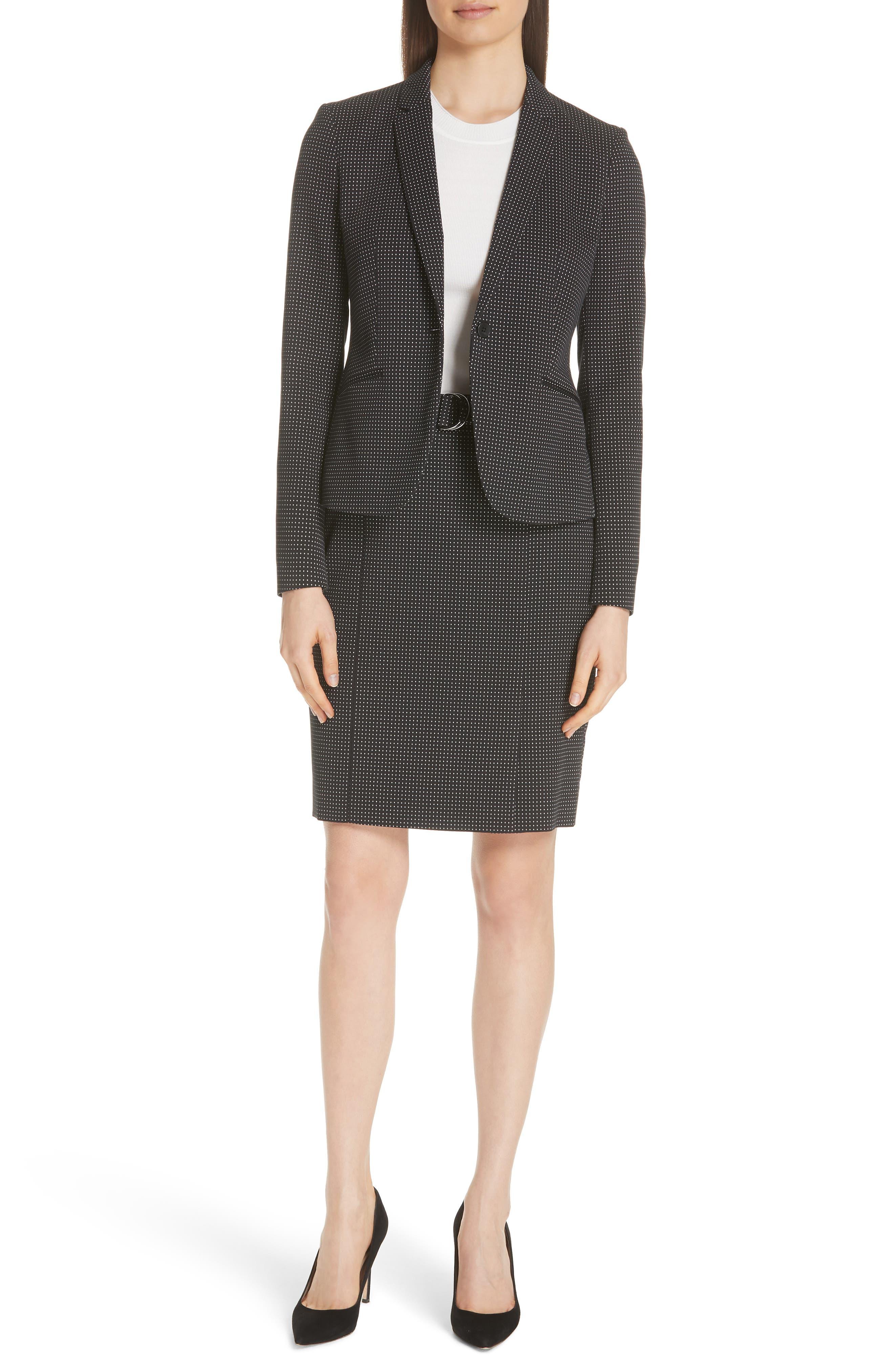Vumano Dot Dessin Stretch Suit Skirt,                             Alternate thumbnail 7, color,                             BLACK FANTASY