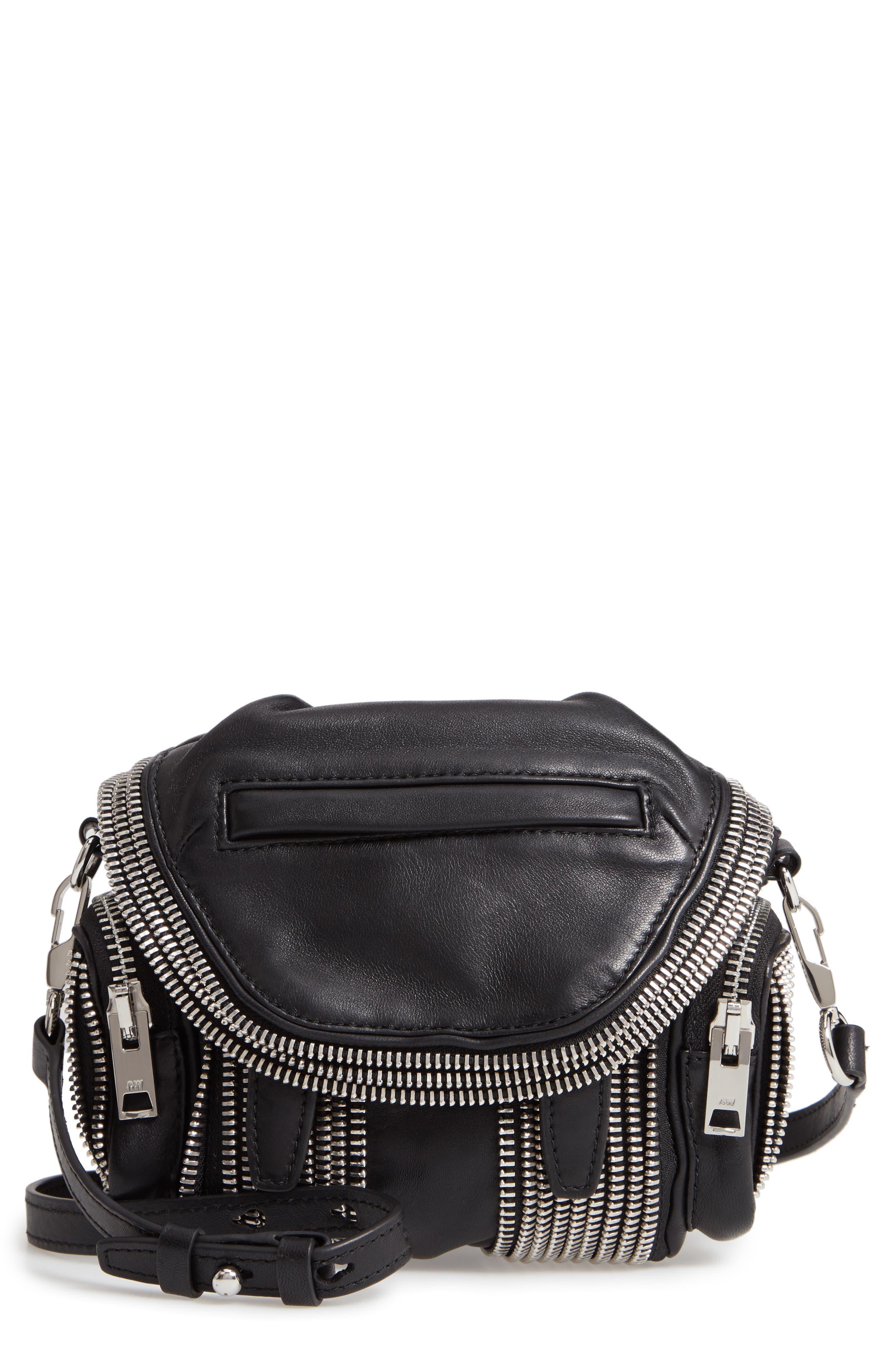Micro Marti Leather Crossbody Bag,                         Main,                         color, BLACK