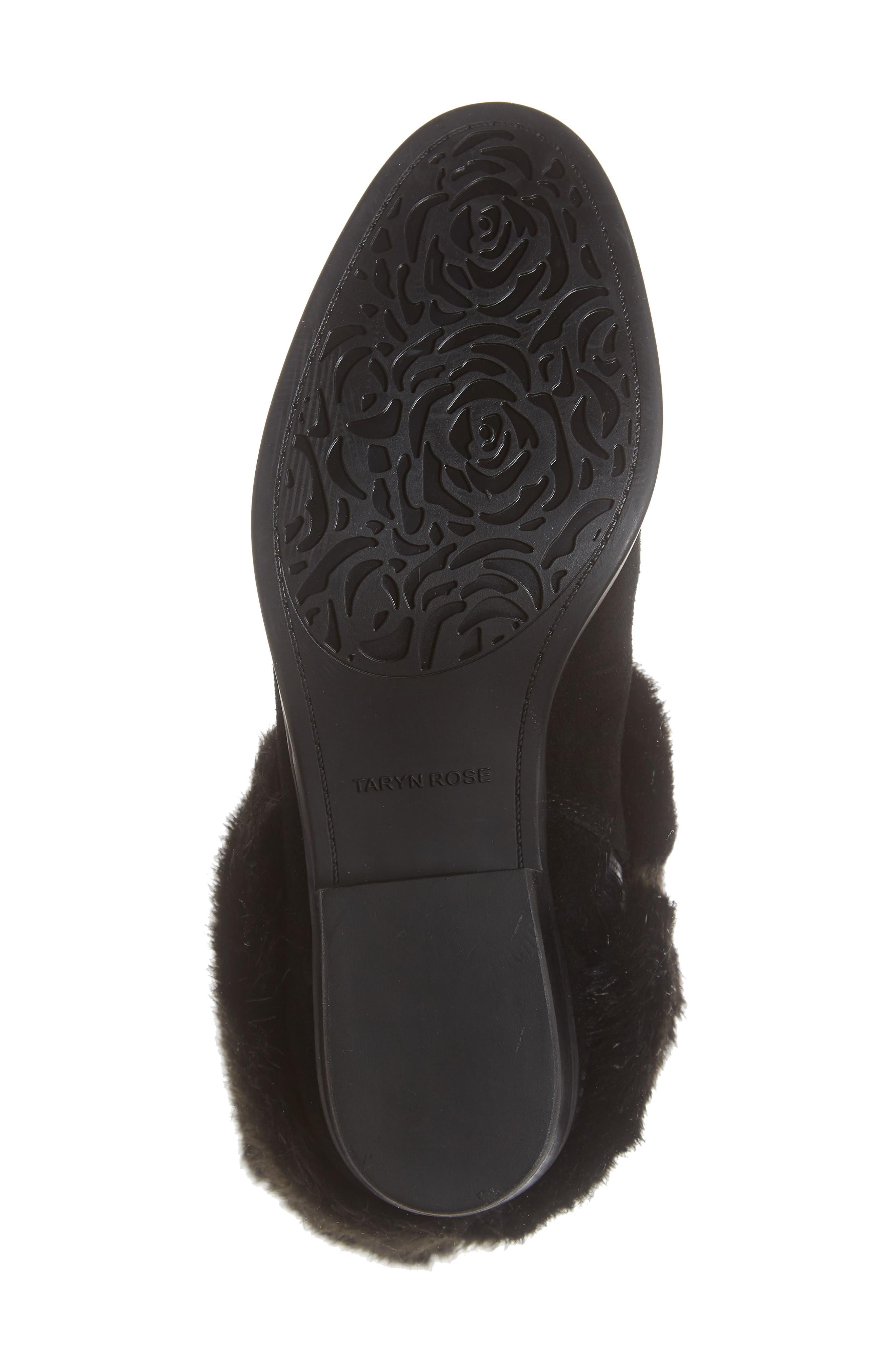 Giselle Water Resistant Faux Fur Boot,                             Alternate thumbnail 6, color,                             BLACK SUEDE