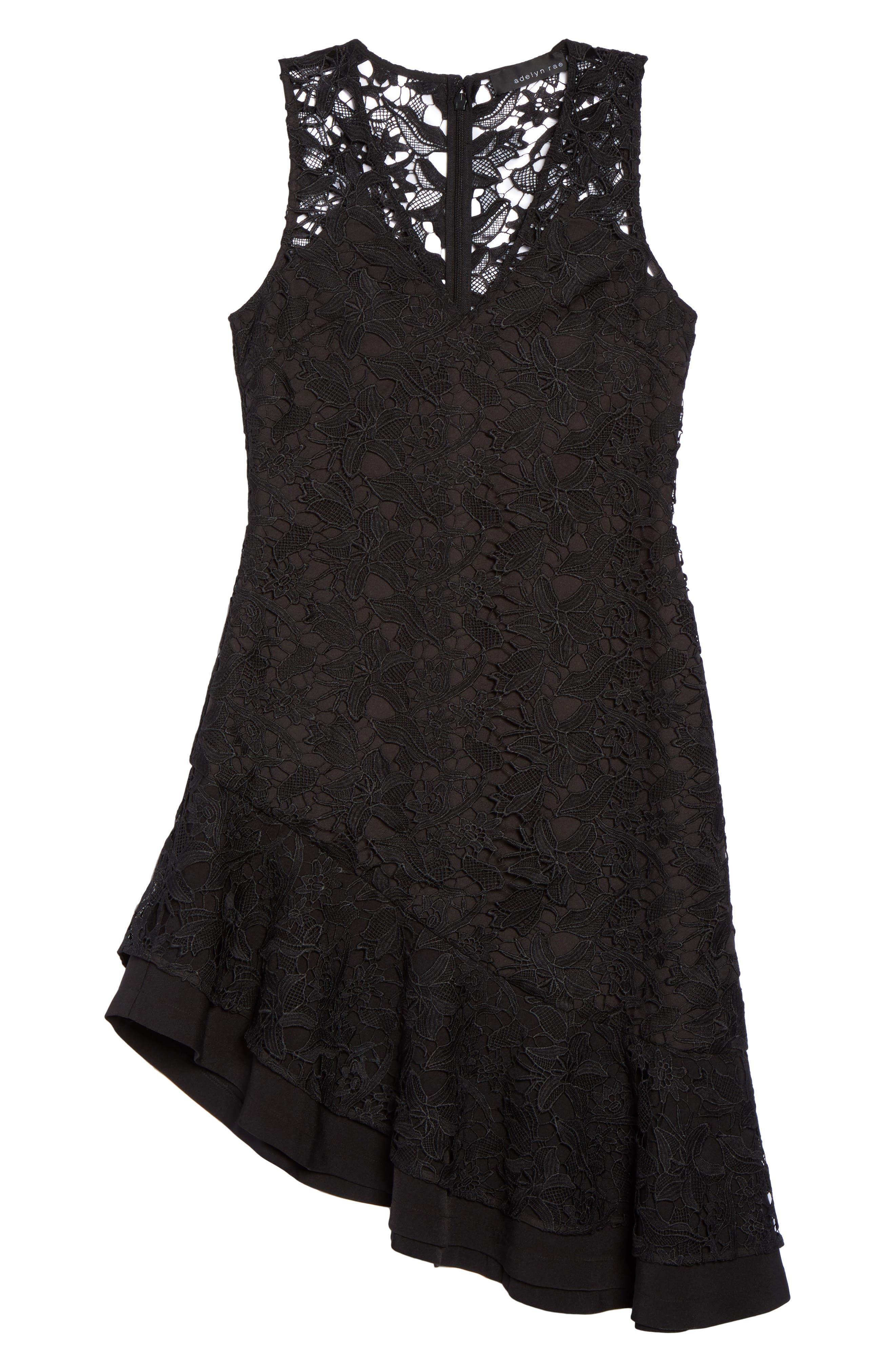 Lace Asymmetrical Dress,                             Alternate thumbnail 6, color,                             001