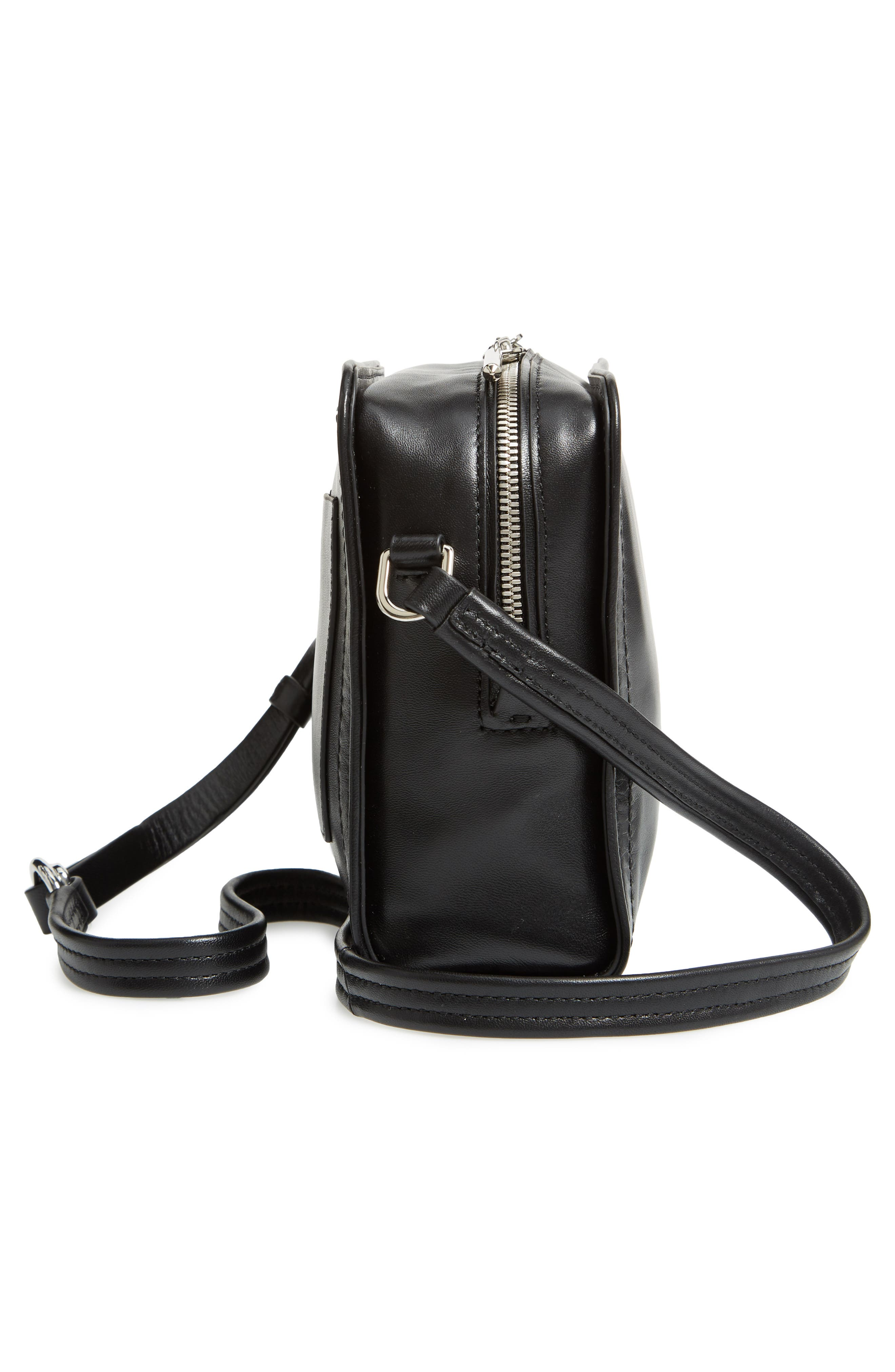 Hudson Mini Square Leather Crossbody Bag,                             Alternate thumbnail 5, color,                             001