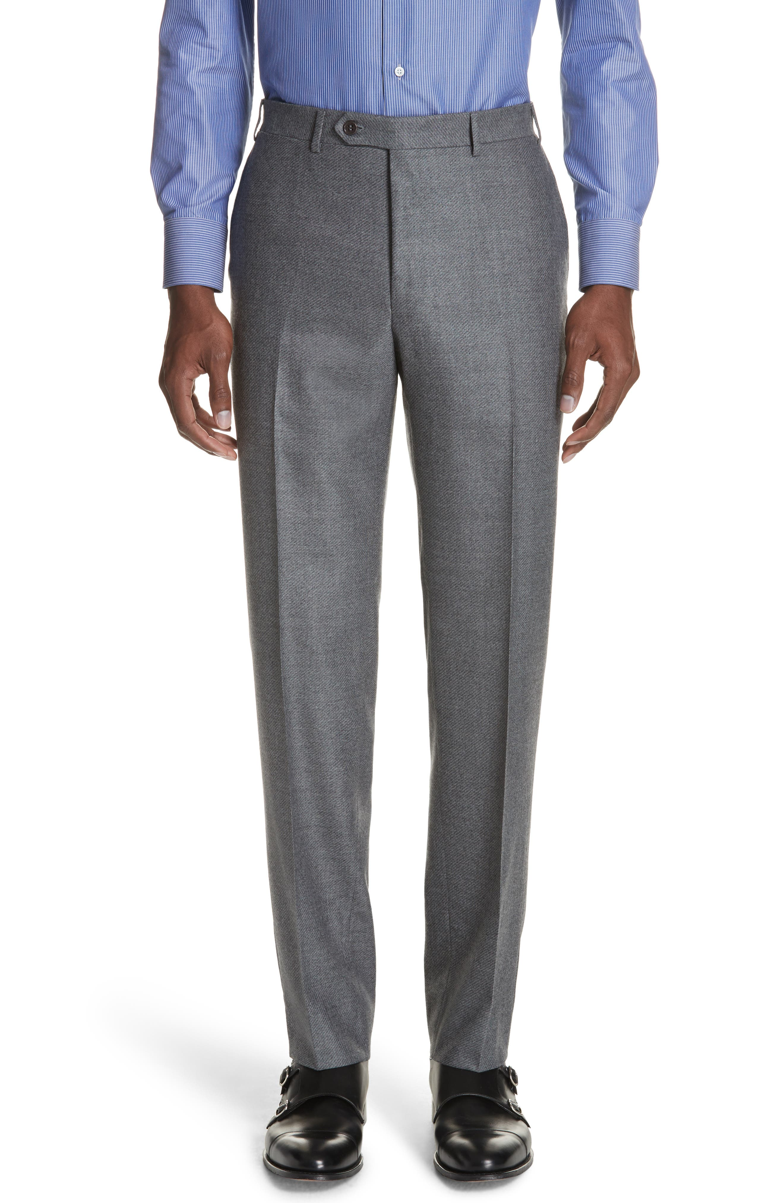 Classic Fit Stretch Solid Wool Suit,                             Alternate thumbnail 5, color,                             MED GREY