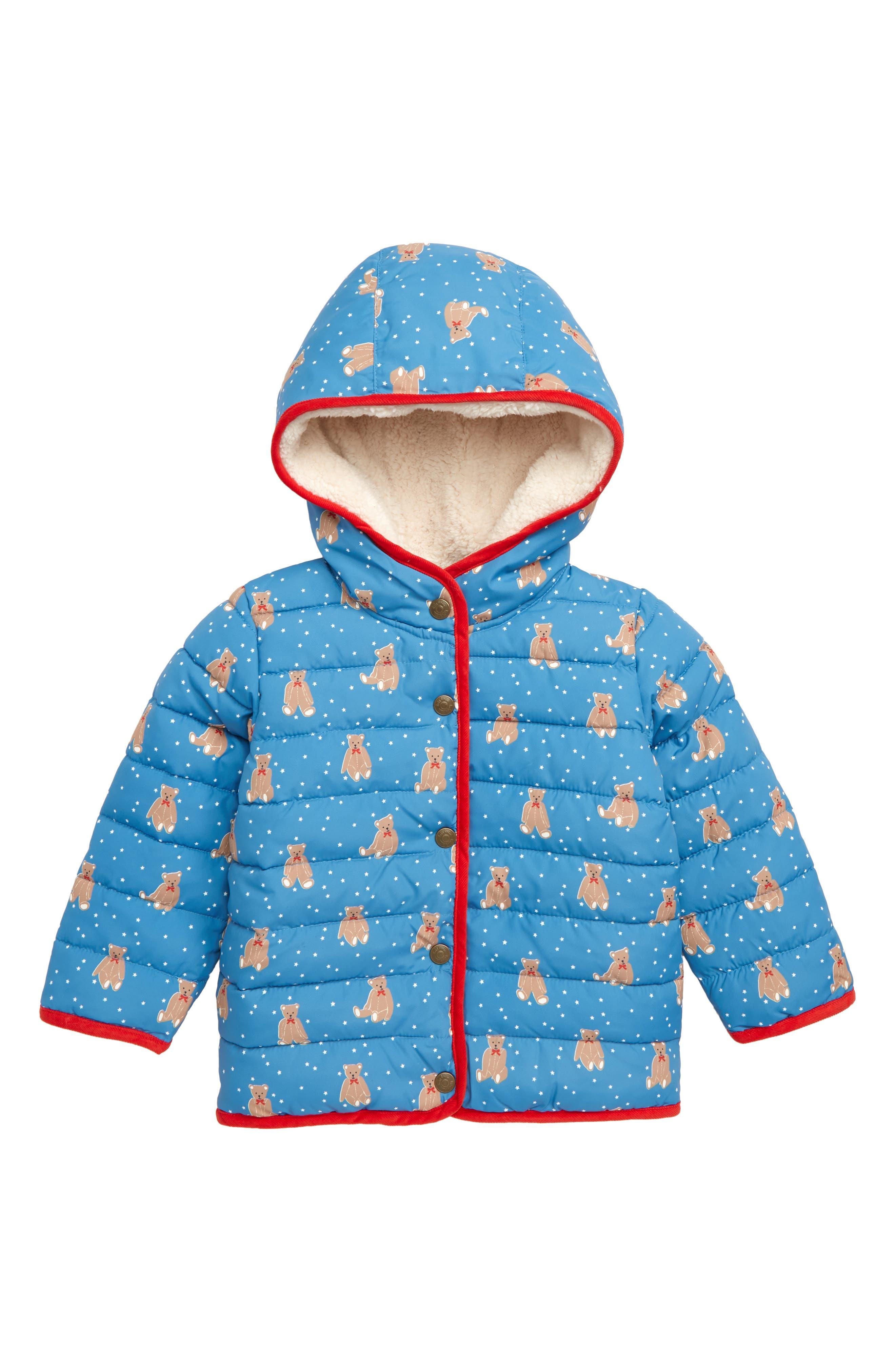 MINI BODEN Babysaurus Water Resistant Quilted Puffer Coat, Main, color, BLU AZURE BLUE BABY BEARS