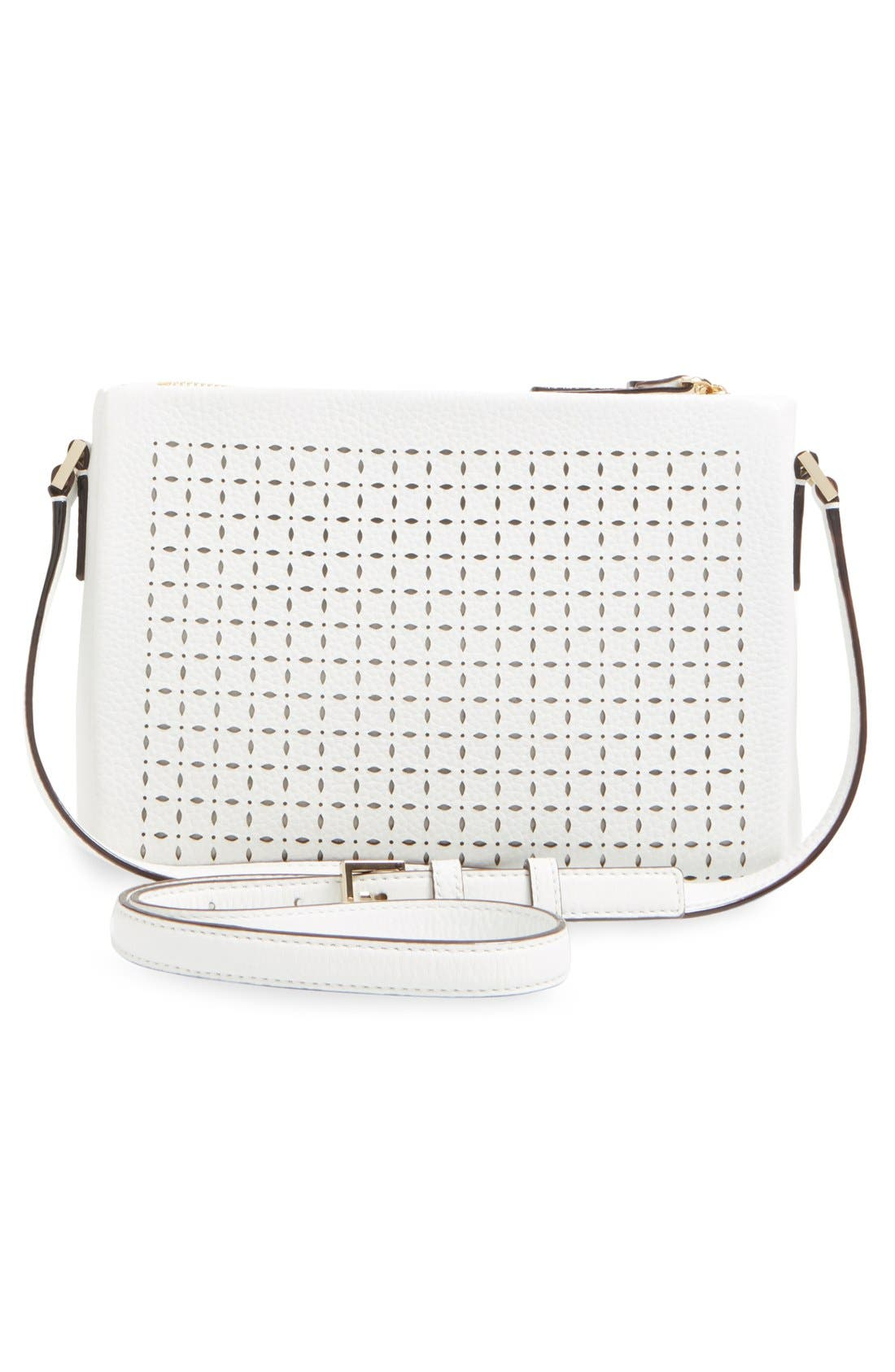 'milton lane - lilibeth' perforated leather crossbody bag,                             Alternate thumbnail 2, color,                             100