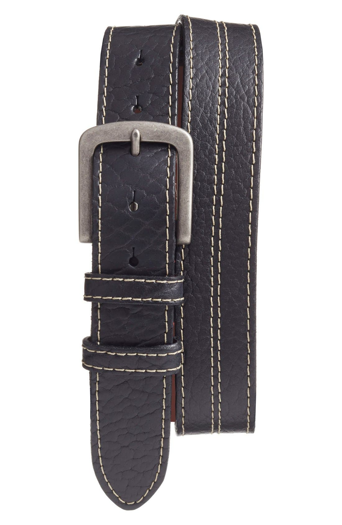 Bison Leather Belt,                         Main,                         color, BLACK