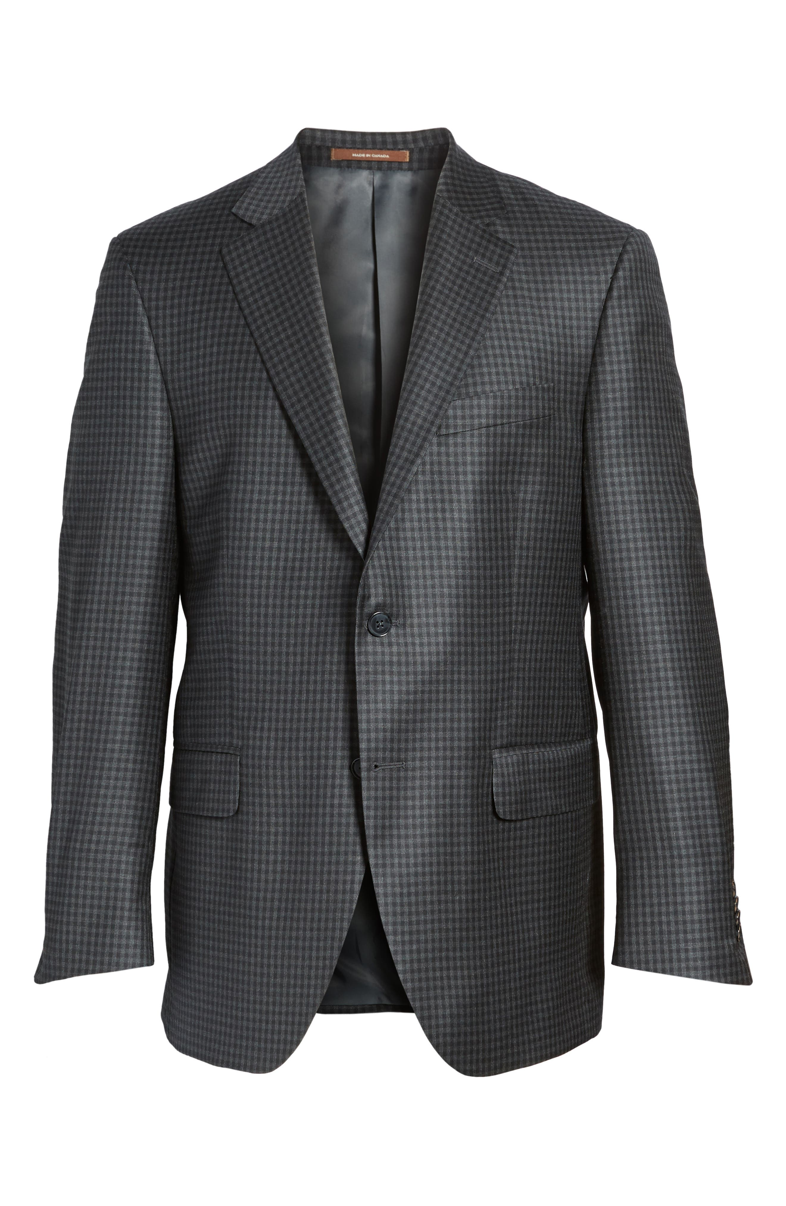 Flynn Classic Fit Check Wool Sport Coat,                             Alternate thumbnail 5, color,                             010