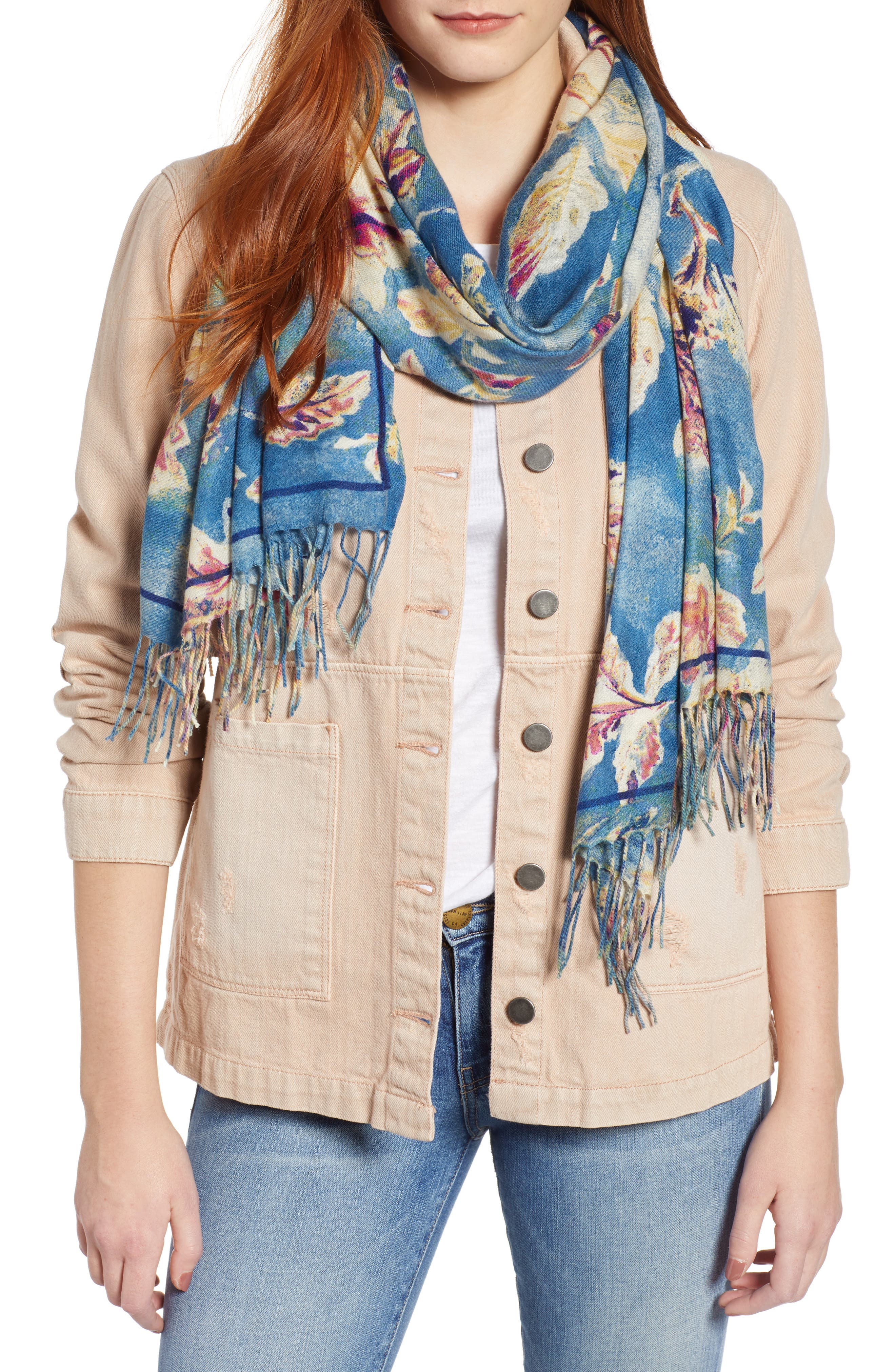 Tissue Print Wool & Cashmere Wrap Scarf,                             Main thumbnail 8, color,