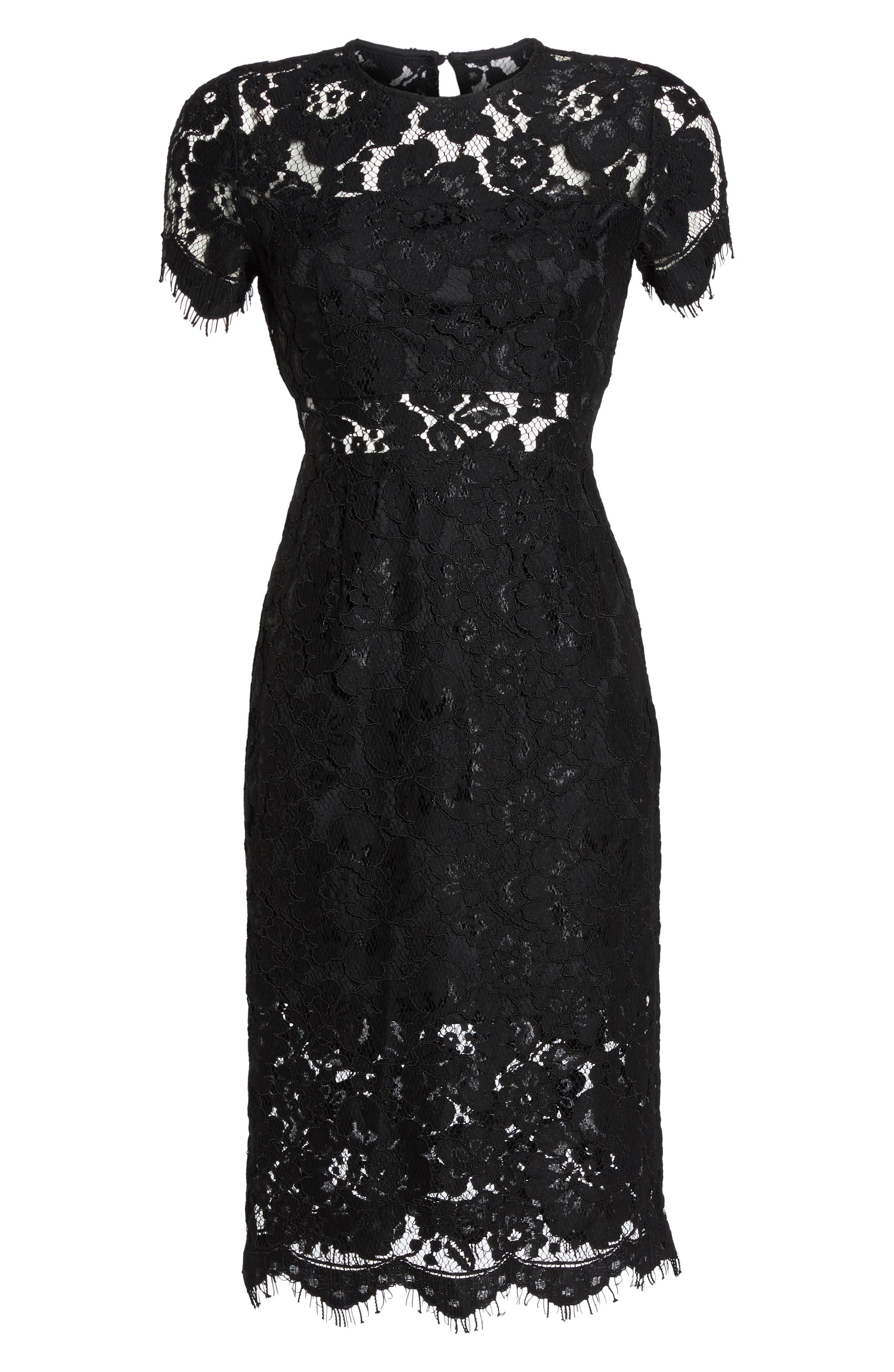 Lace Midi Dress,                             Alternate thumbnail 6, color,                             001