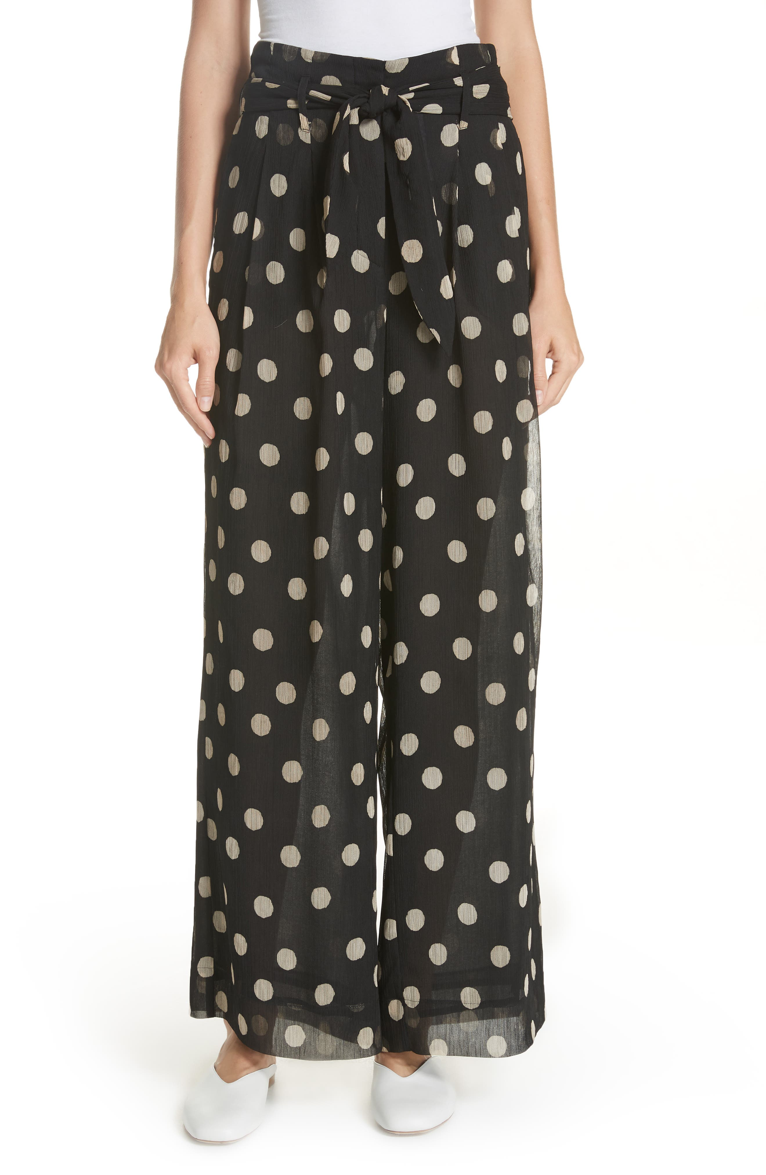 Nevada Polka Dot Chiffon Pants,                         Main,                         color, POLKA DOT