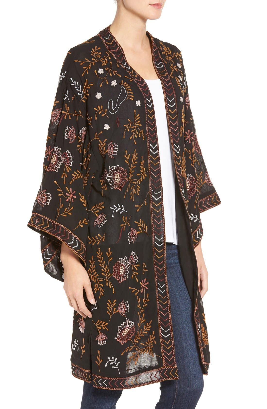 WILLOW & CLAY,                             Embroidered Kimono,                             Alternate thumbnail 6, color,                             001