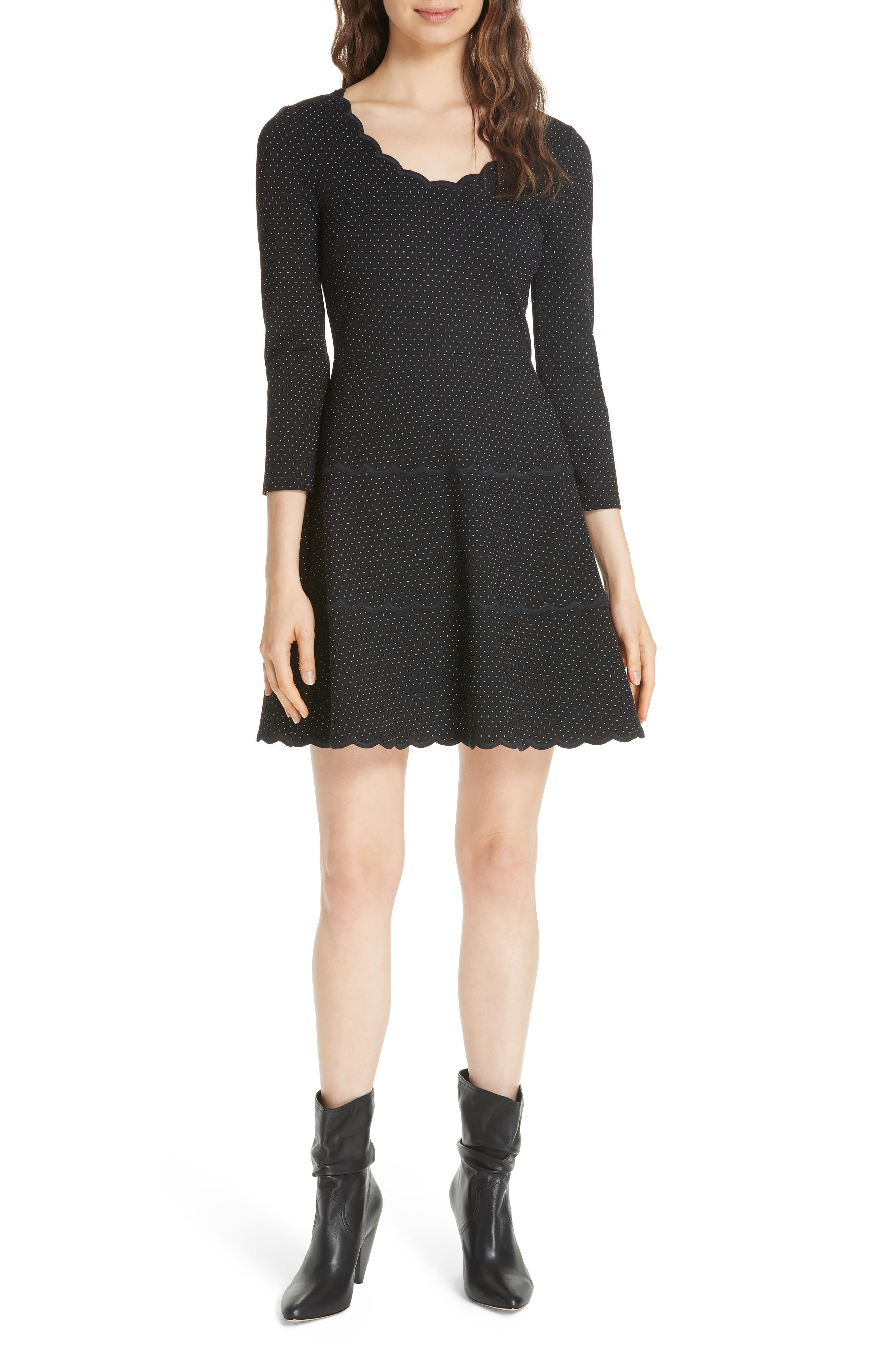 pin dot scallop ponte fit & flare dress, Main, color, 001