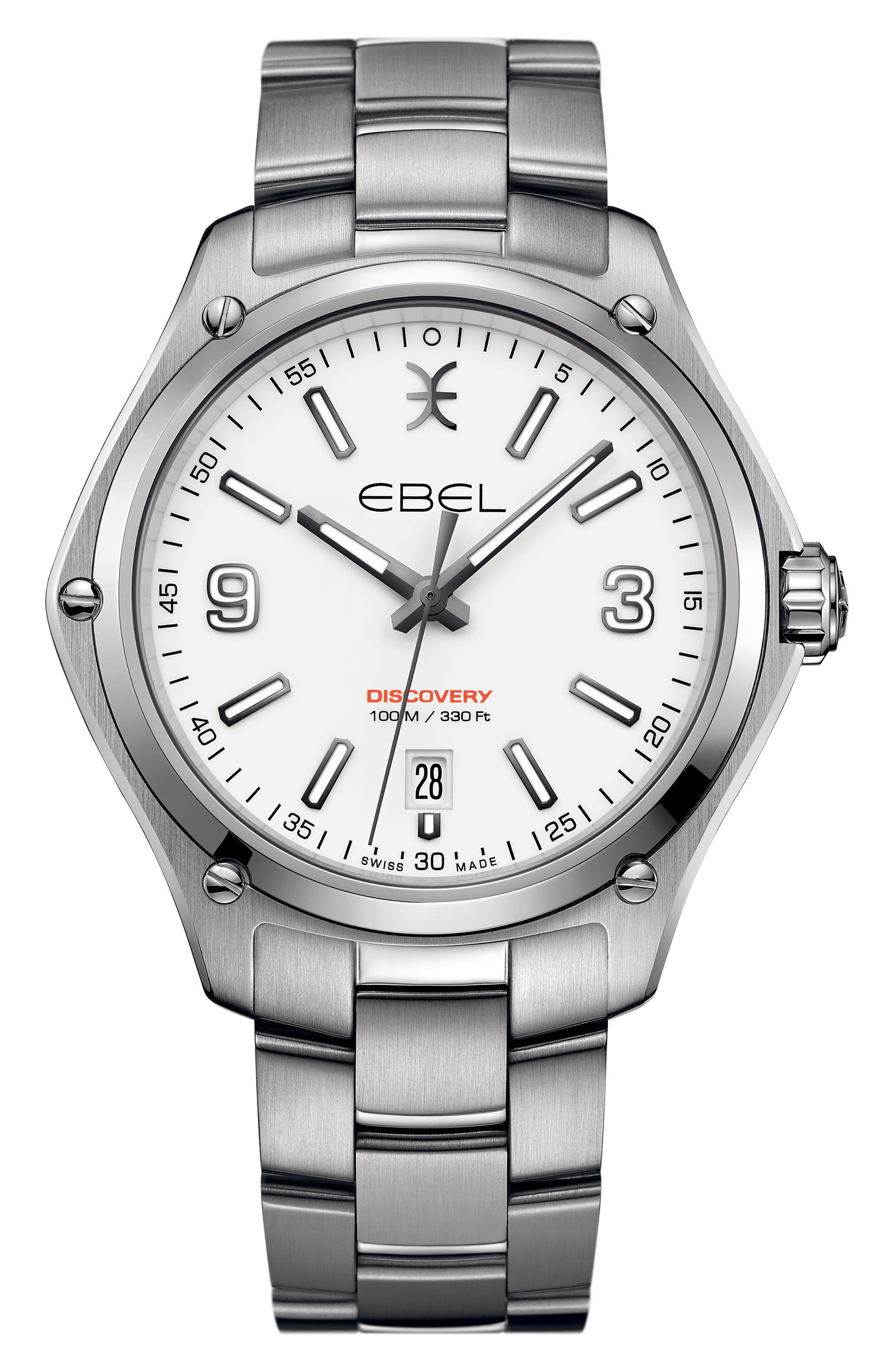 Discovery Bracelet Watch, 41mm,                             Main thumbnail 1, color,                             SILVER/ WHITE/ SILVER
