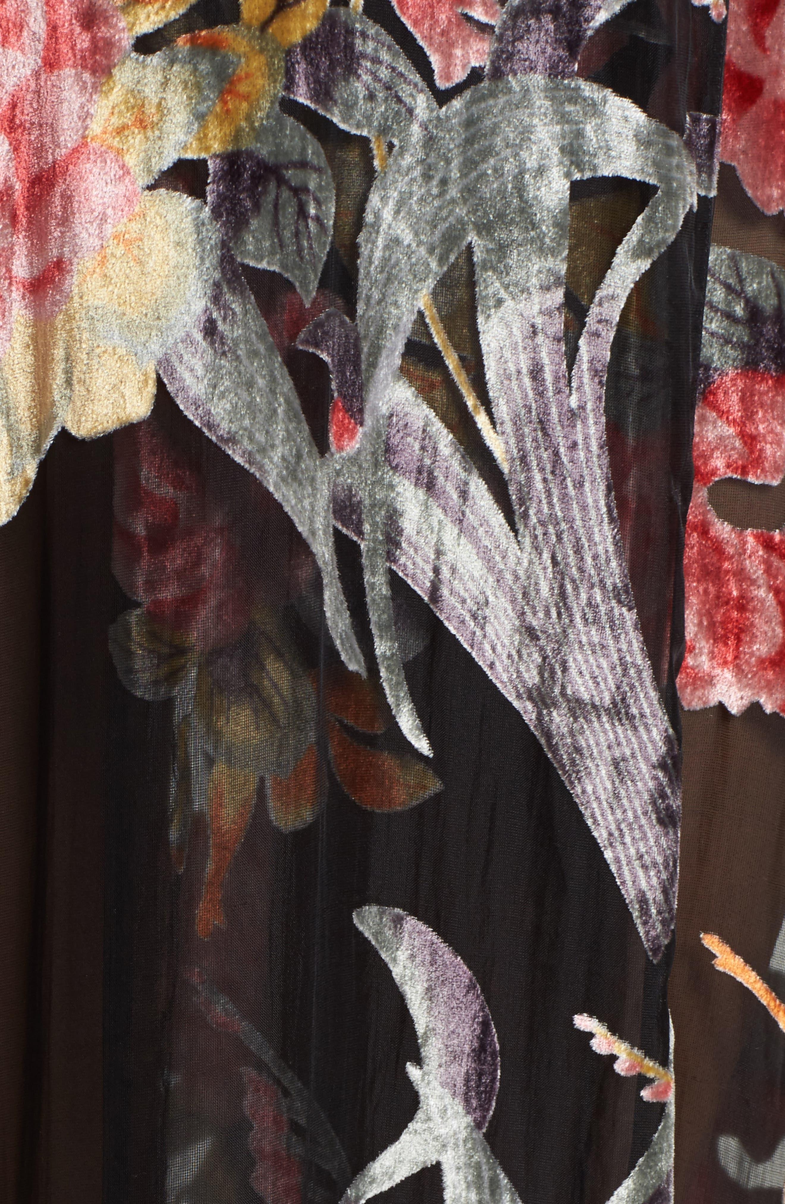 Burnout Velvet Robe,                             Alternate thumbnail 5, color,                             001