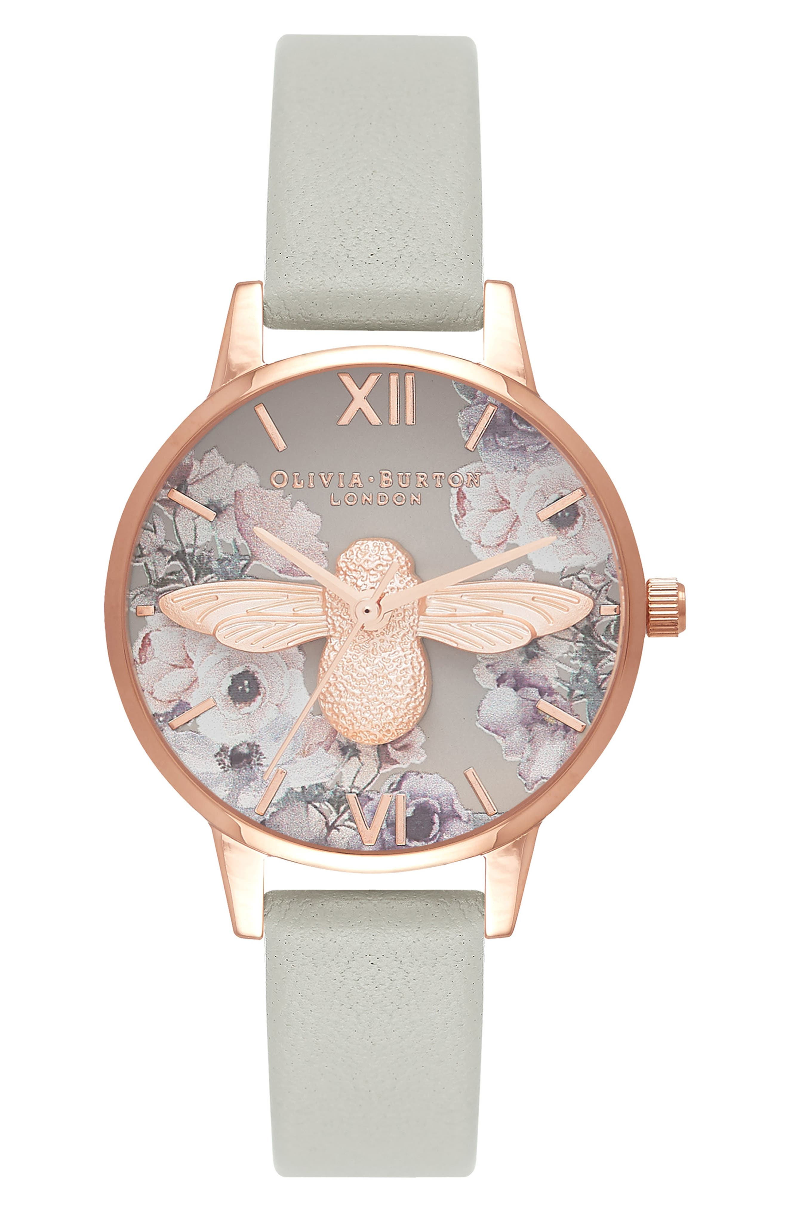 OLIVIA BURTON Watercolour Leather Strap Watch, 30Mm in Grey/ Bee/ Rose Gold