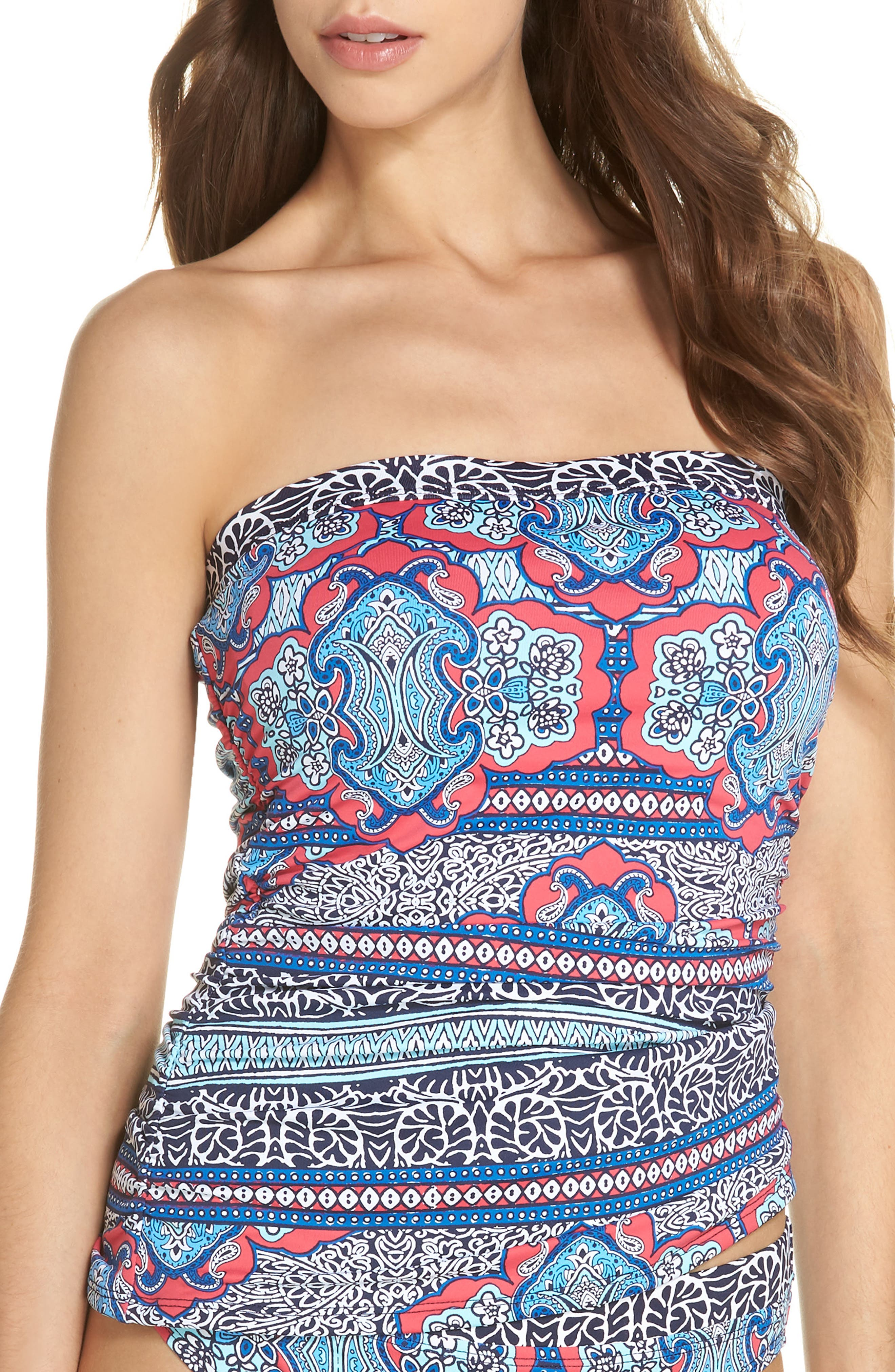 TOMMY BAHAMA Riviera Tiles Strapless Tankini Top, Main, color, 650