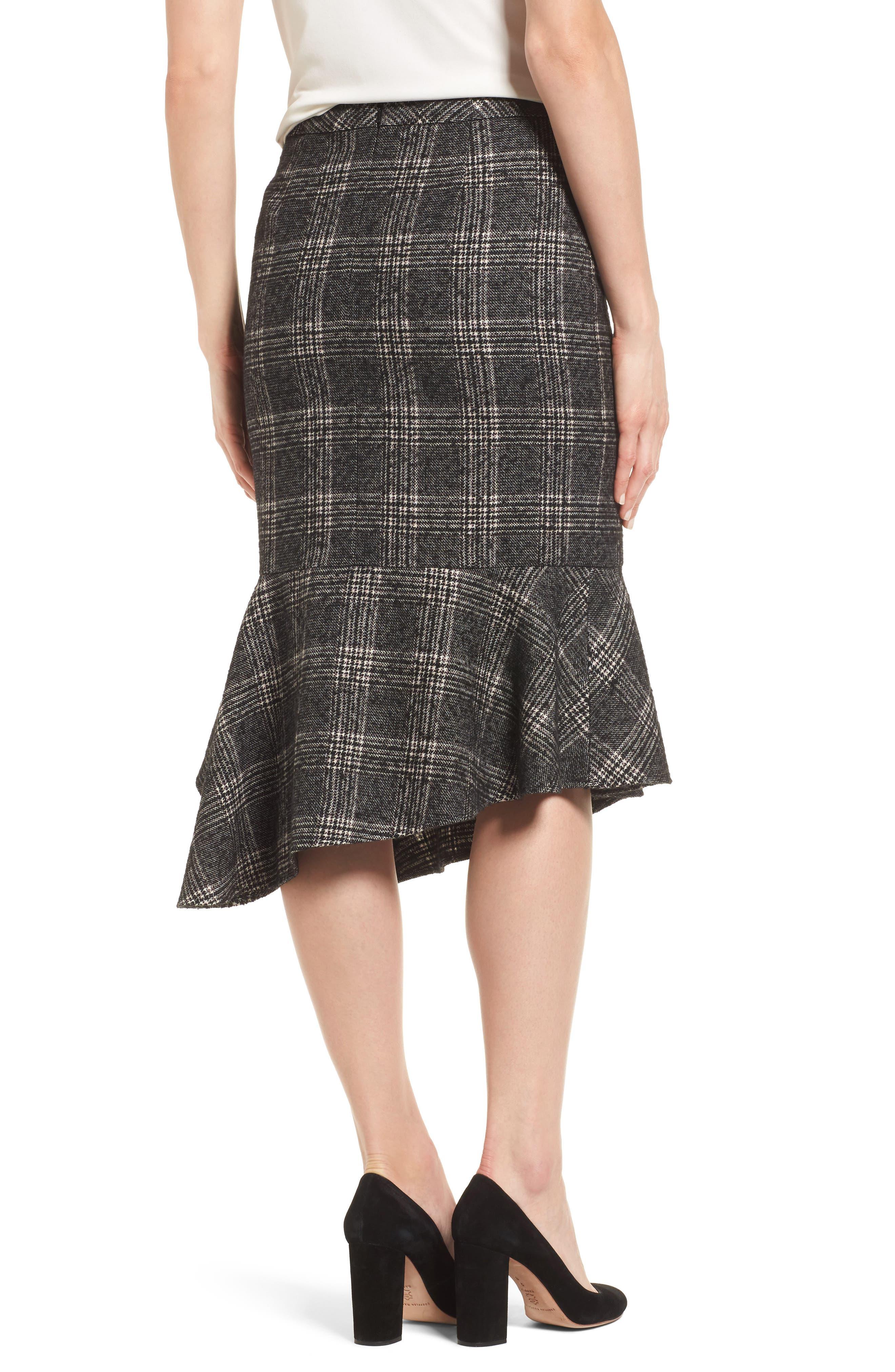 Asymmetrical Ruffle Hem Skirt,                             Alternate thumbnail 2, color,                             001