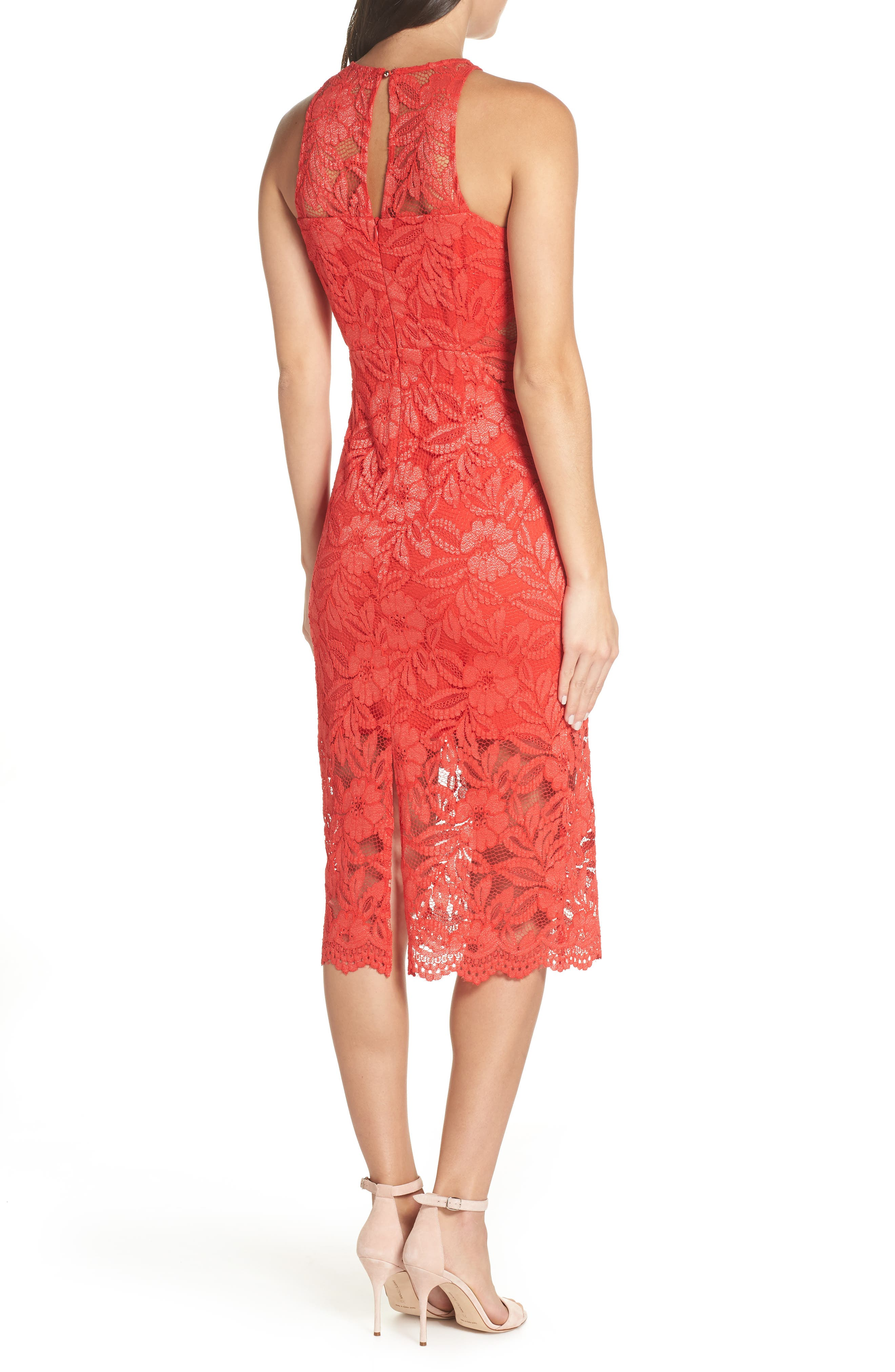 Erin Lace Midi Sheath Dress,                             Alternate thumbnail 2, color,                             RED