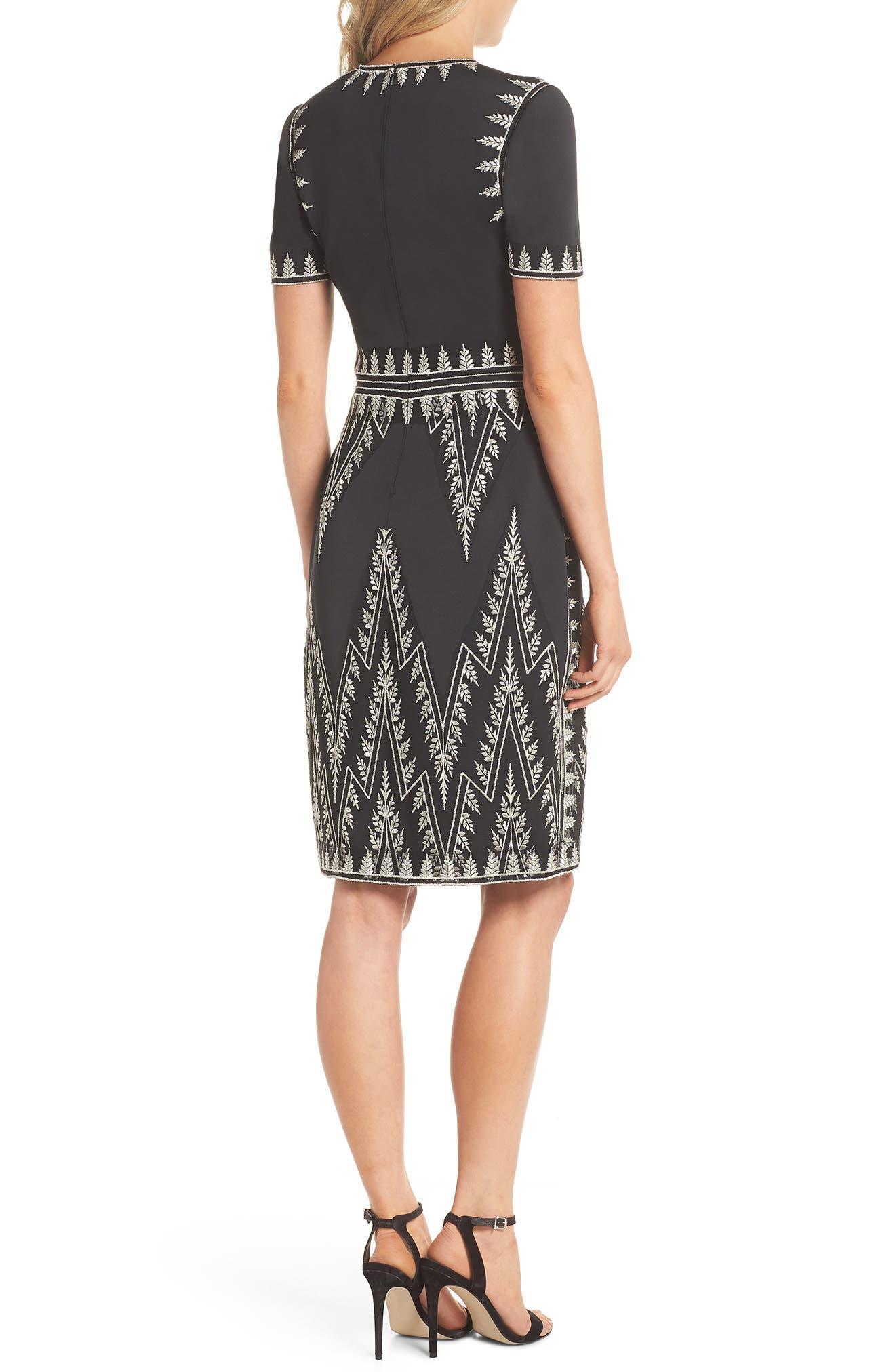 Embroidered Chevron Dress,                             Alternate thumbnail 2, color,                             BLACK/ SILVER