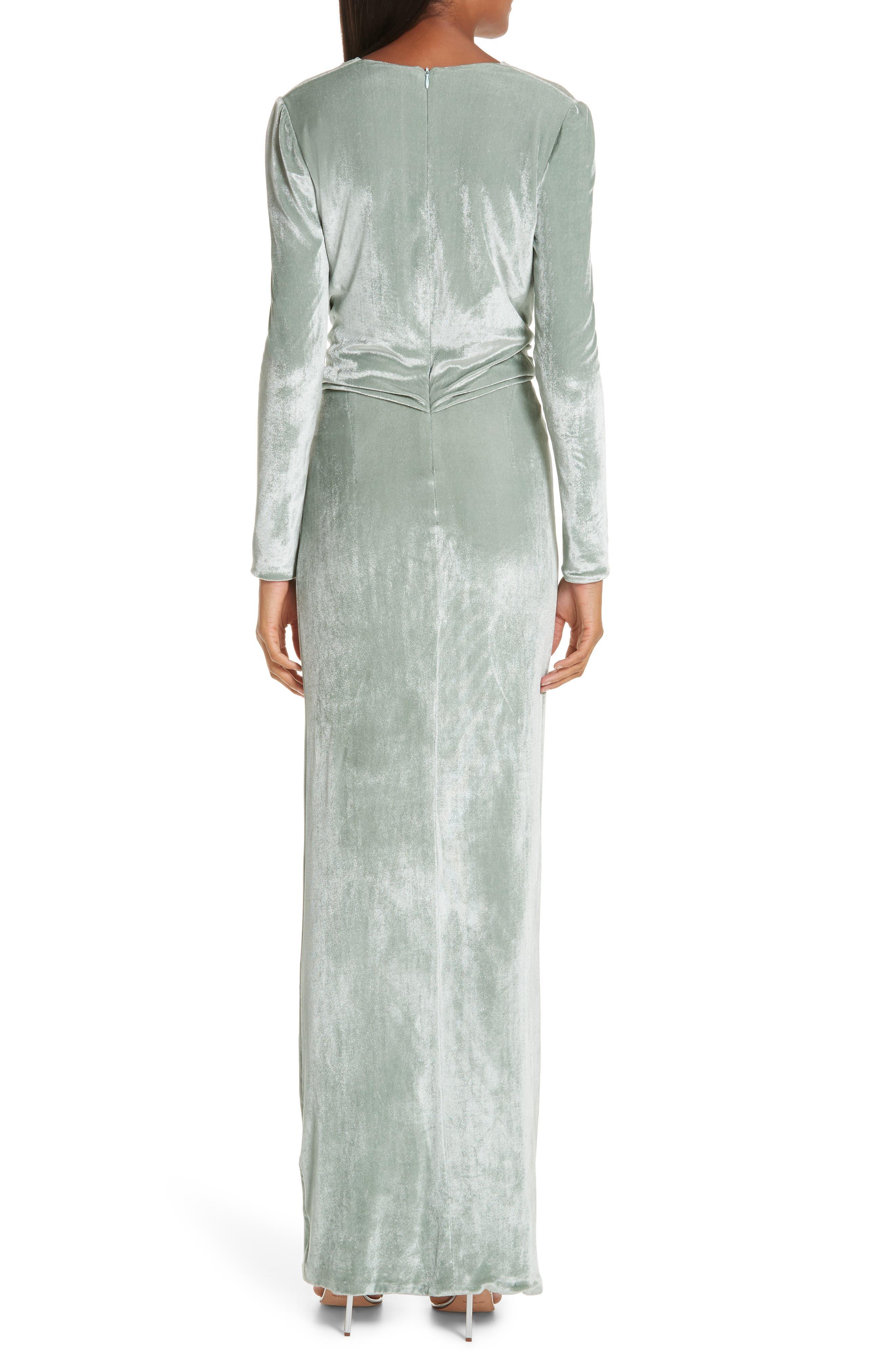 GALVAN,                             Surplice Neck Velvet Gown,                             Alternate thumbnail 2, color,                             MINT