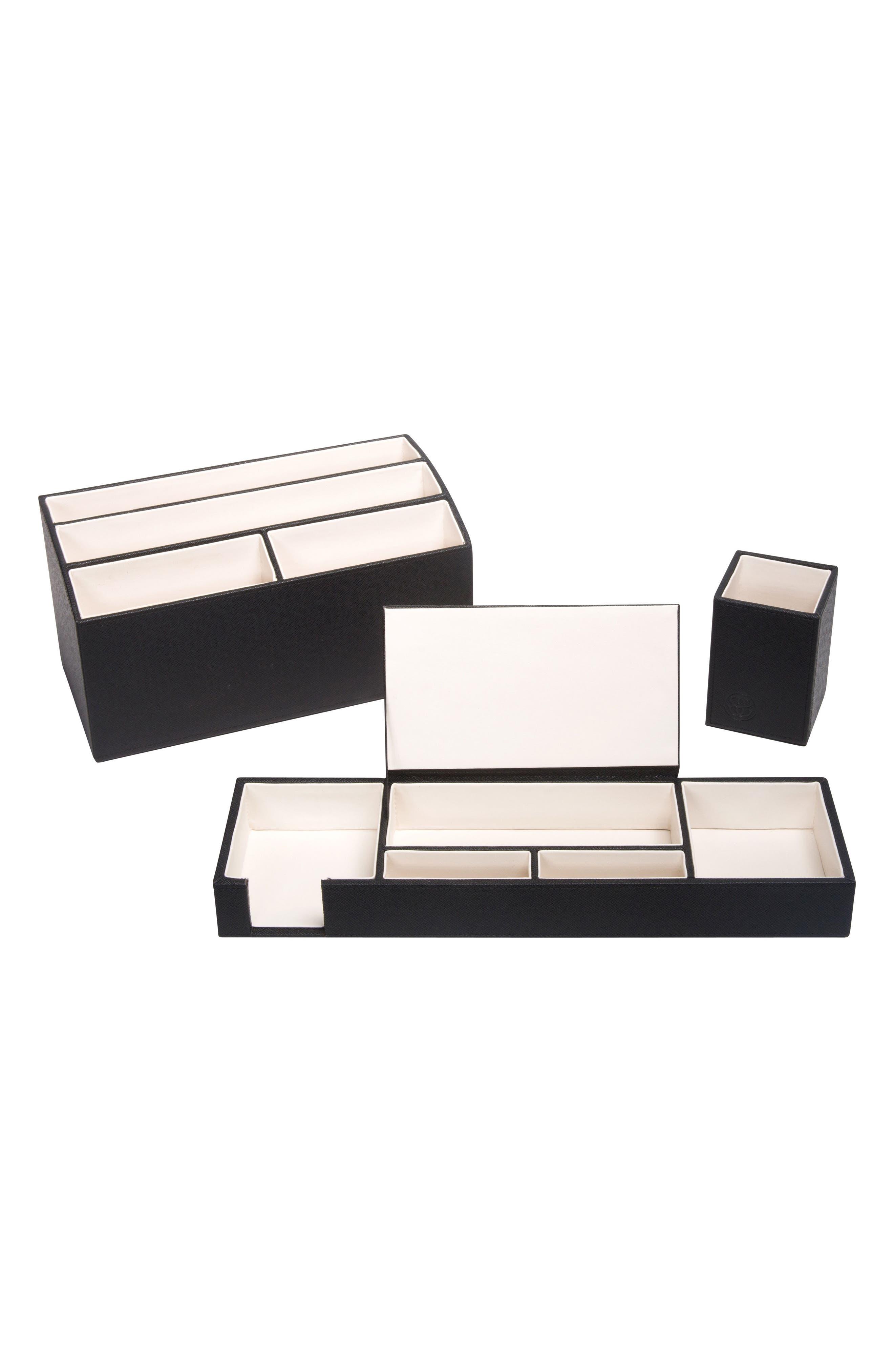 3-Piece Desk Organizer Set,                         Main,                         color, BLACK/ IVORY