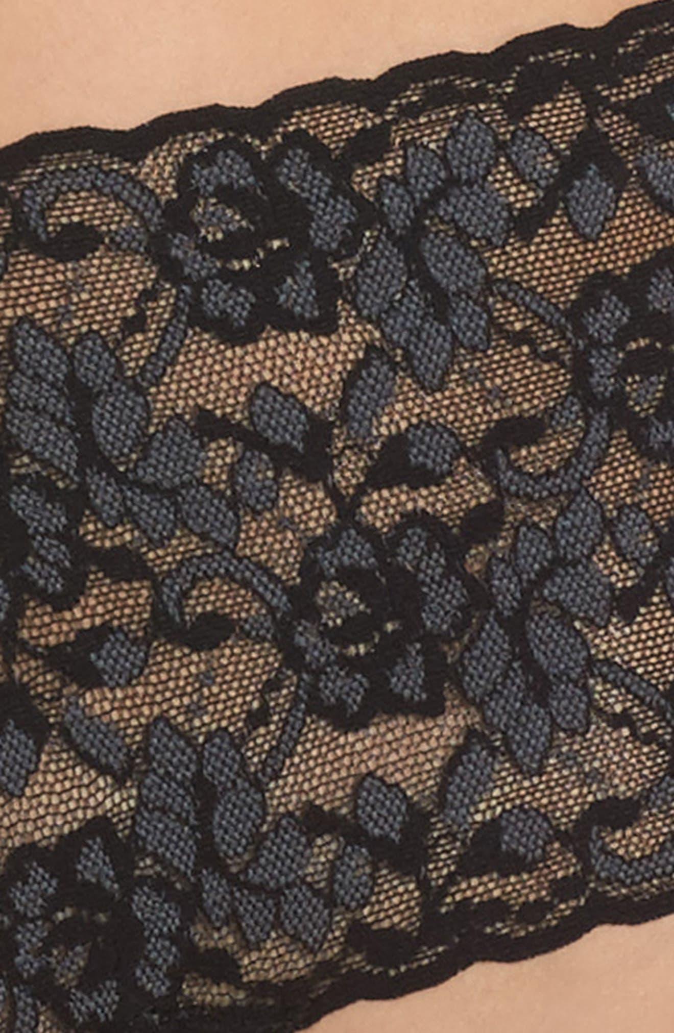 Cross Dye Lace Retro Thong,                             Alternate thumbnail 4, color,                             BLACK/ HEATHER