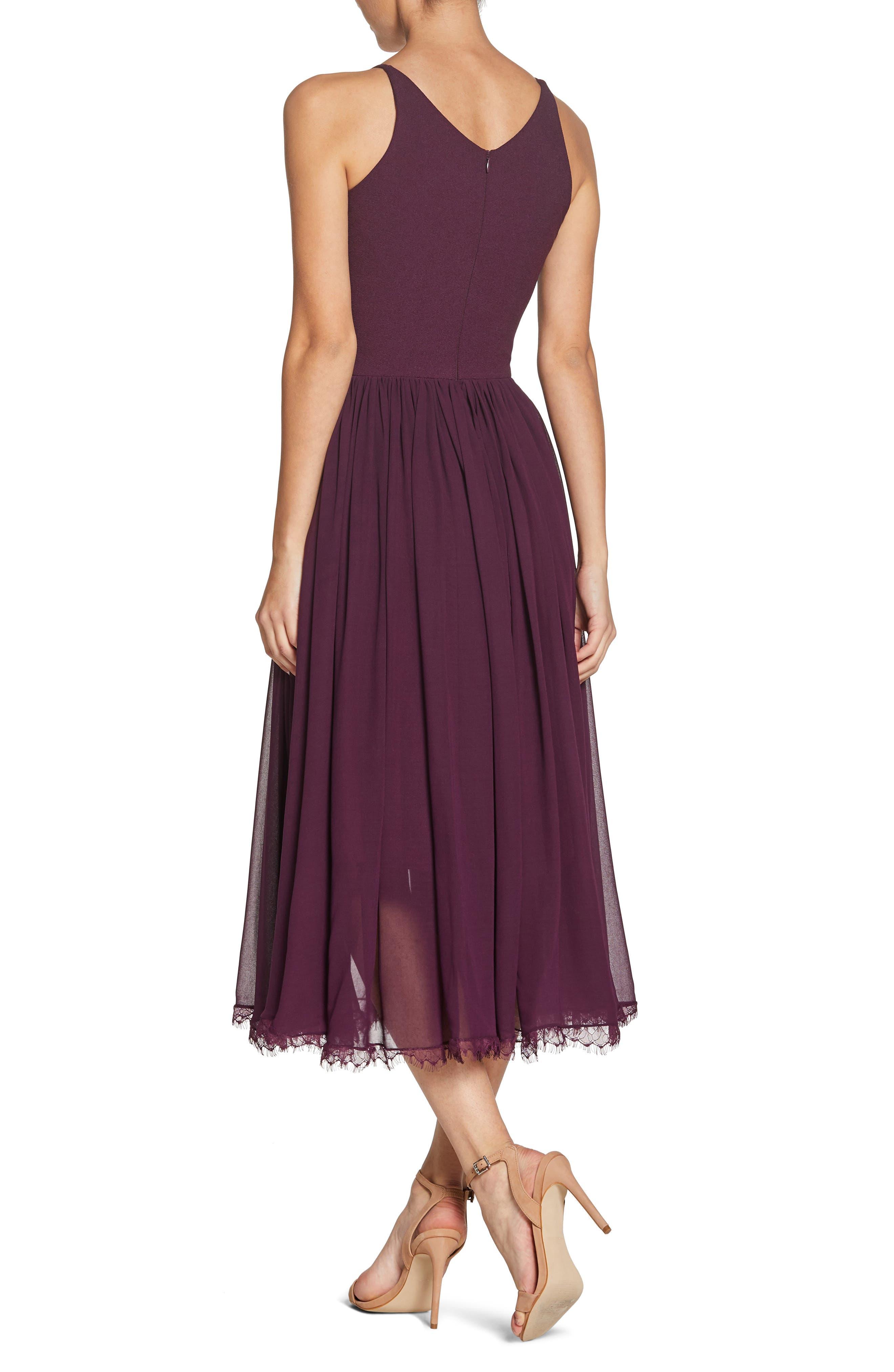 Alicia Mixed Media Midi Dress,                             Alternate thumbnail 2, color,                             PLUM