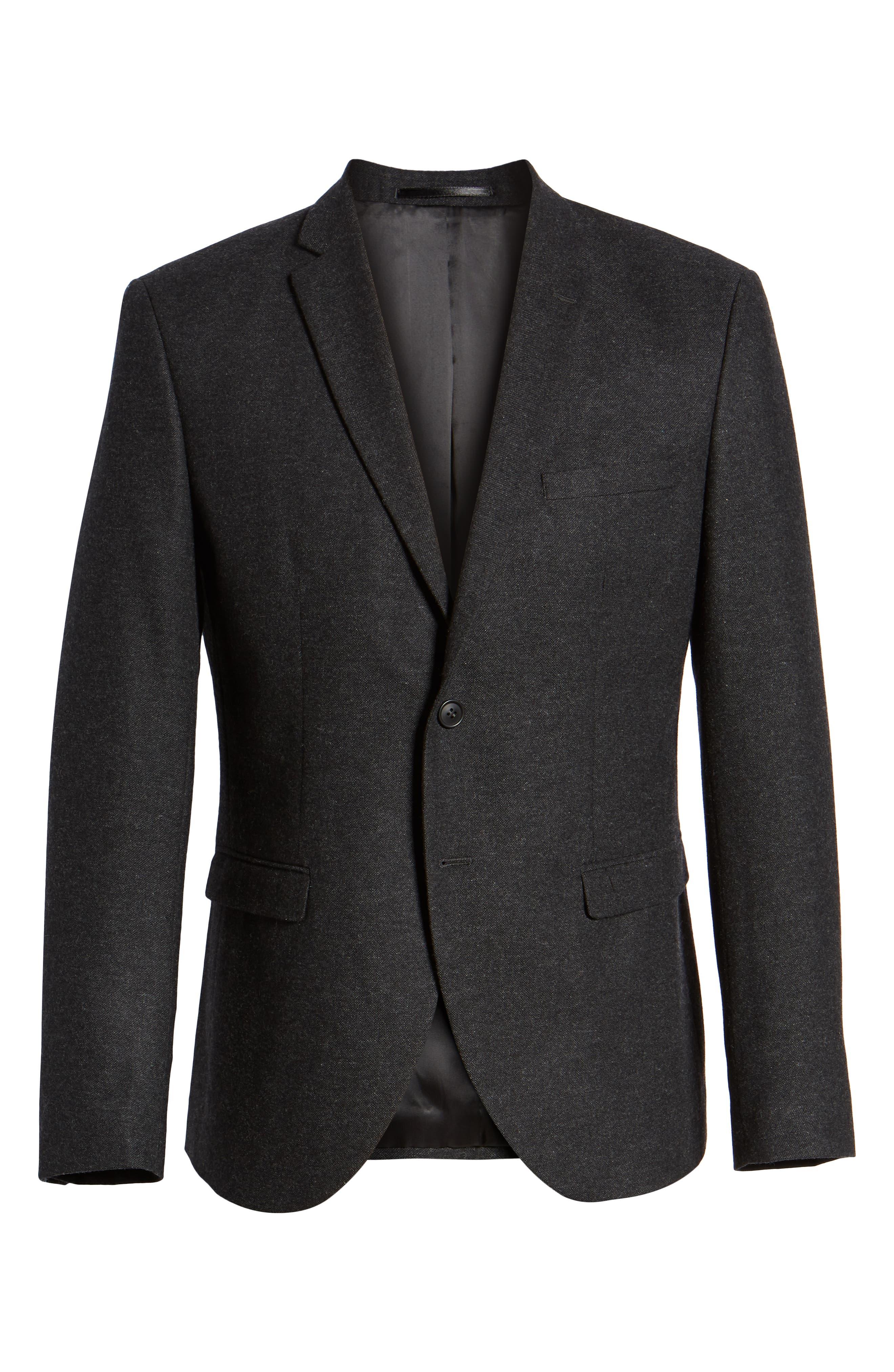 Slim Fit Myloiver Wool Blend Blazer,                             Alternate thumbnail 5, color,                             DARK GREY