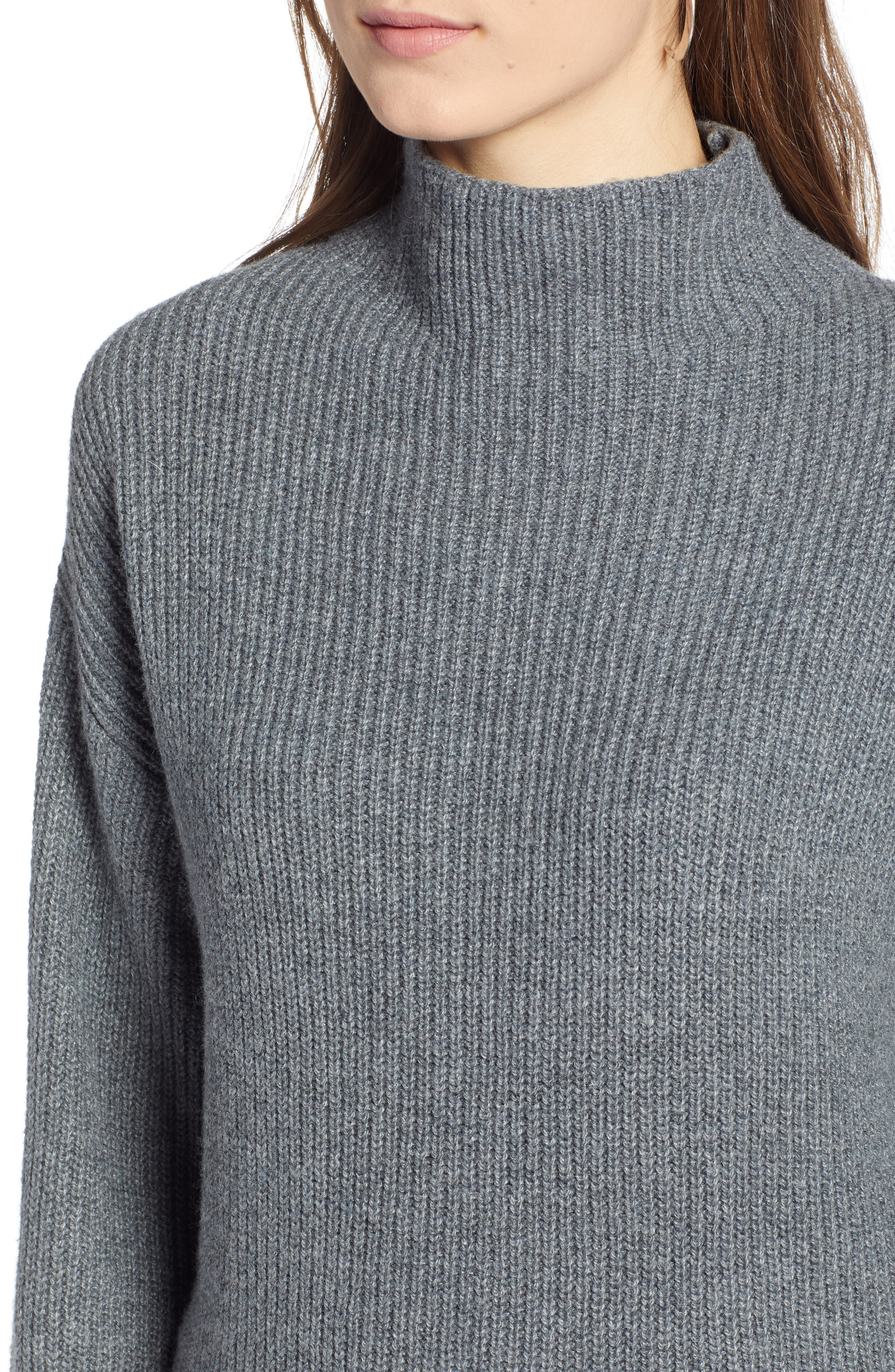 Ribbed Funnel Neck Sweater,                             Alternate thumbnail 4, color,                             030