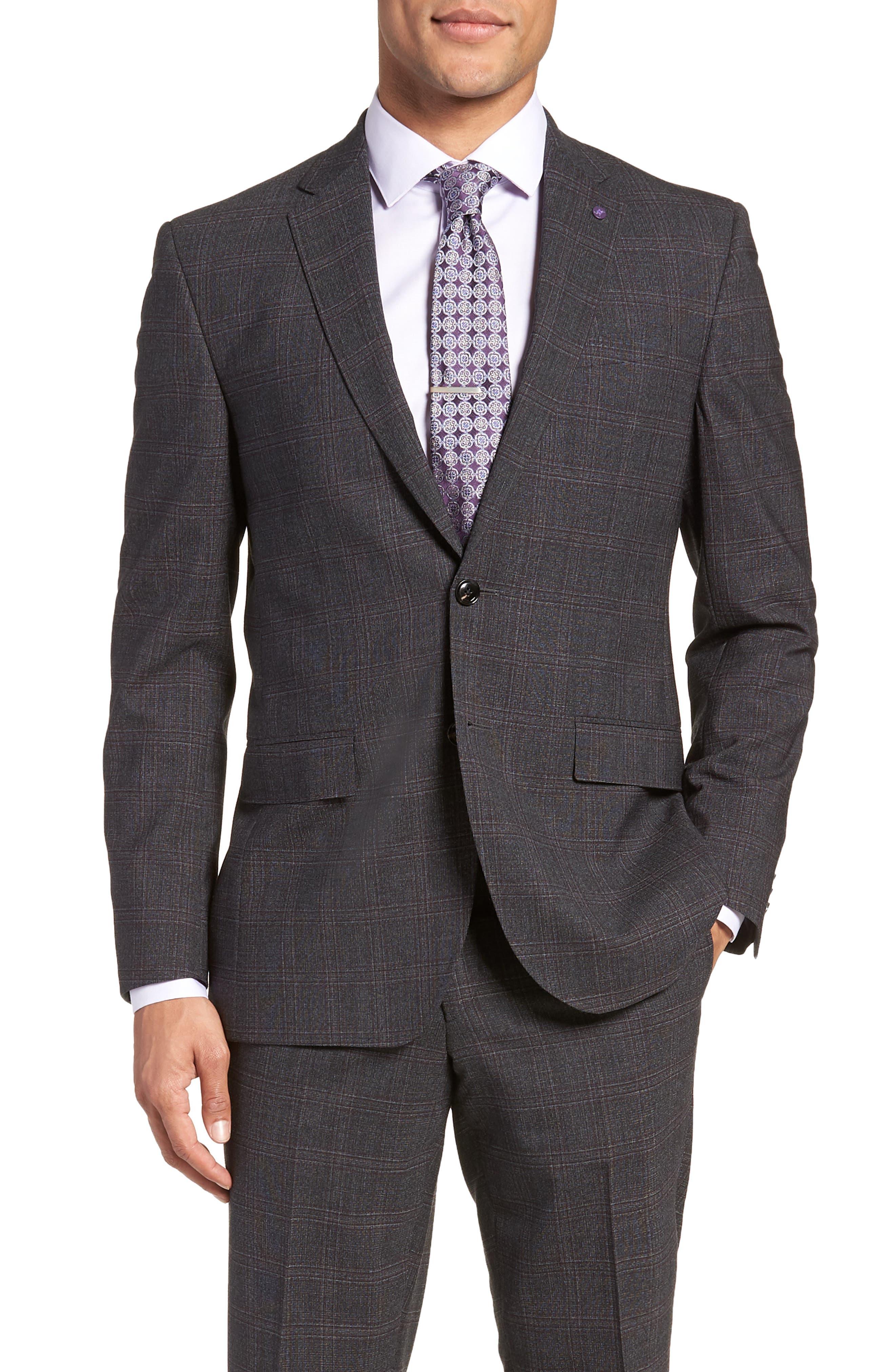 Jay Trim Fit Plaid Wool Suit,                             Alternate thumbnail 5, color,                             CHARCOAL