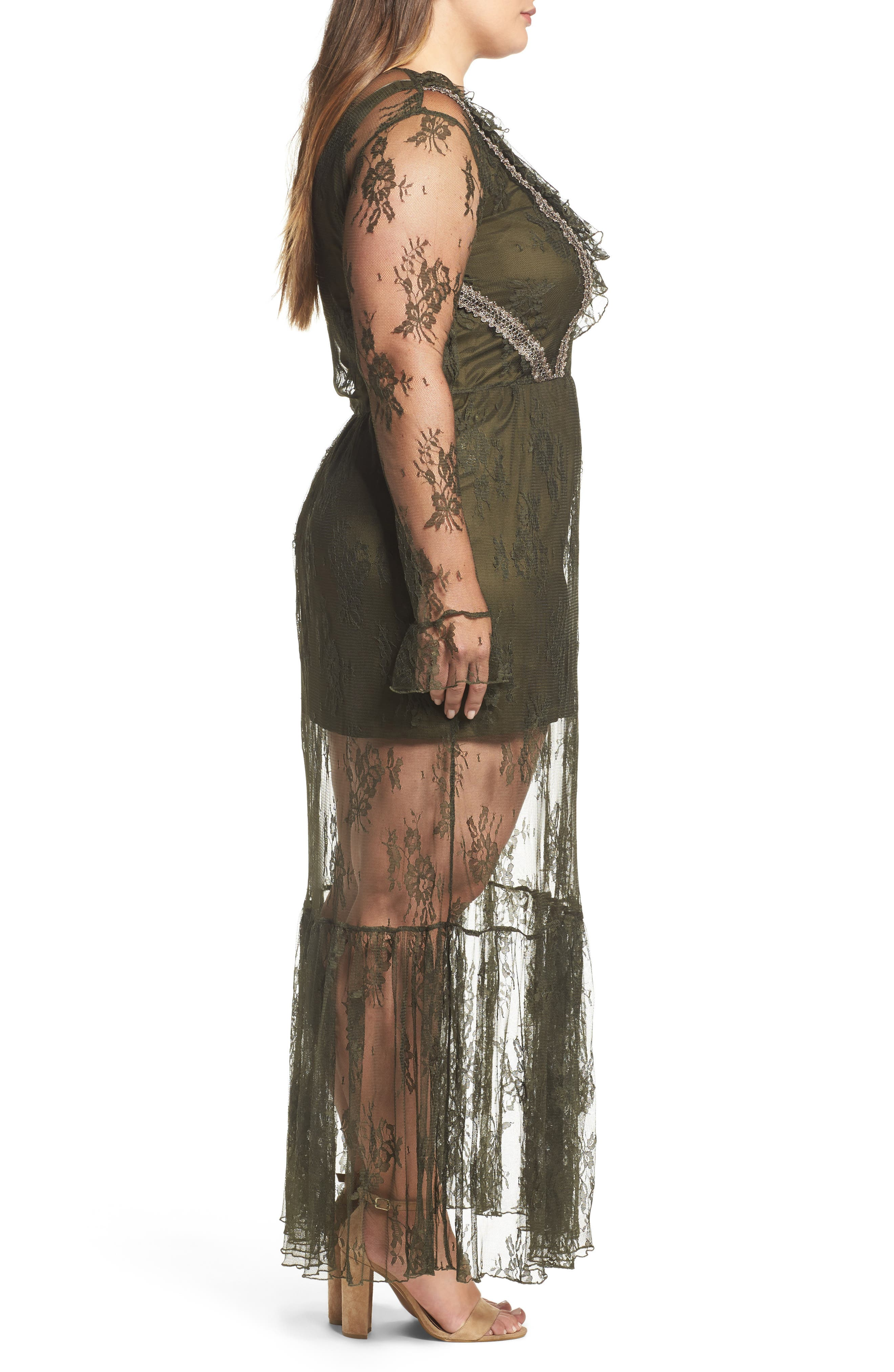 Lace Boho Maxi Dress,                             Alternate thumbnail 3, color,