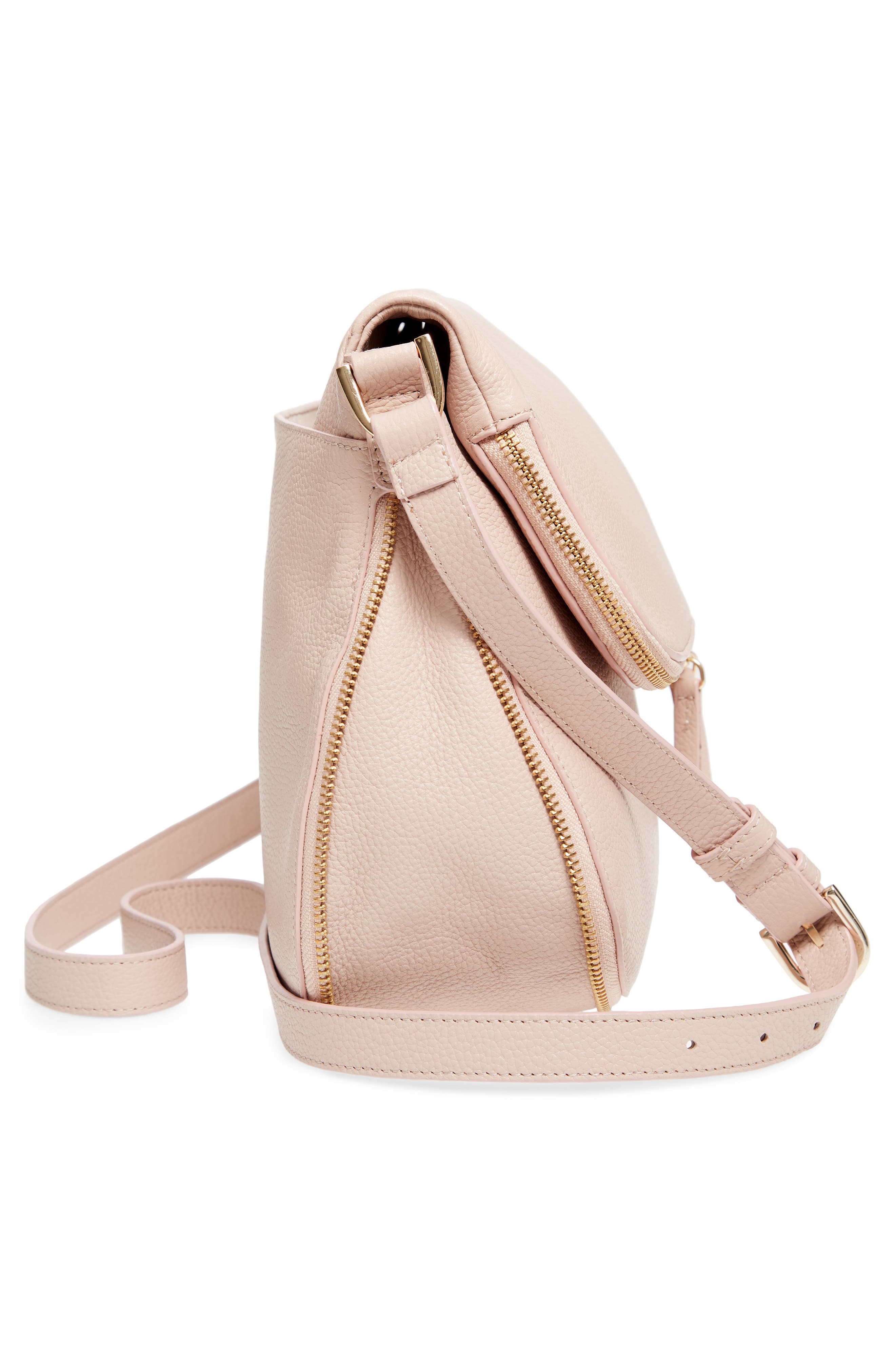 Kara Leather Expandable Crossbody Bag,                             Alternate thumbnail 5, color,                             PINK ROSECLOUD