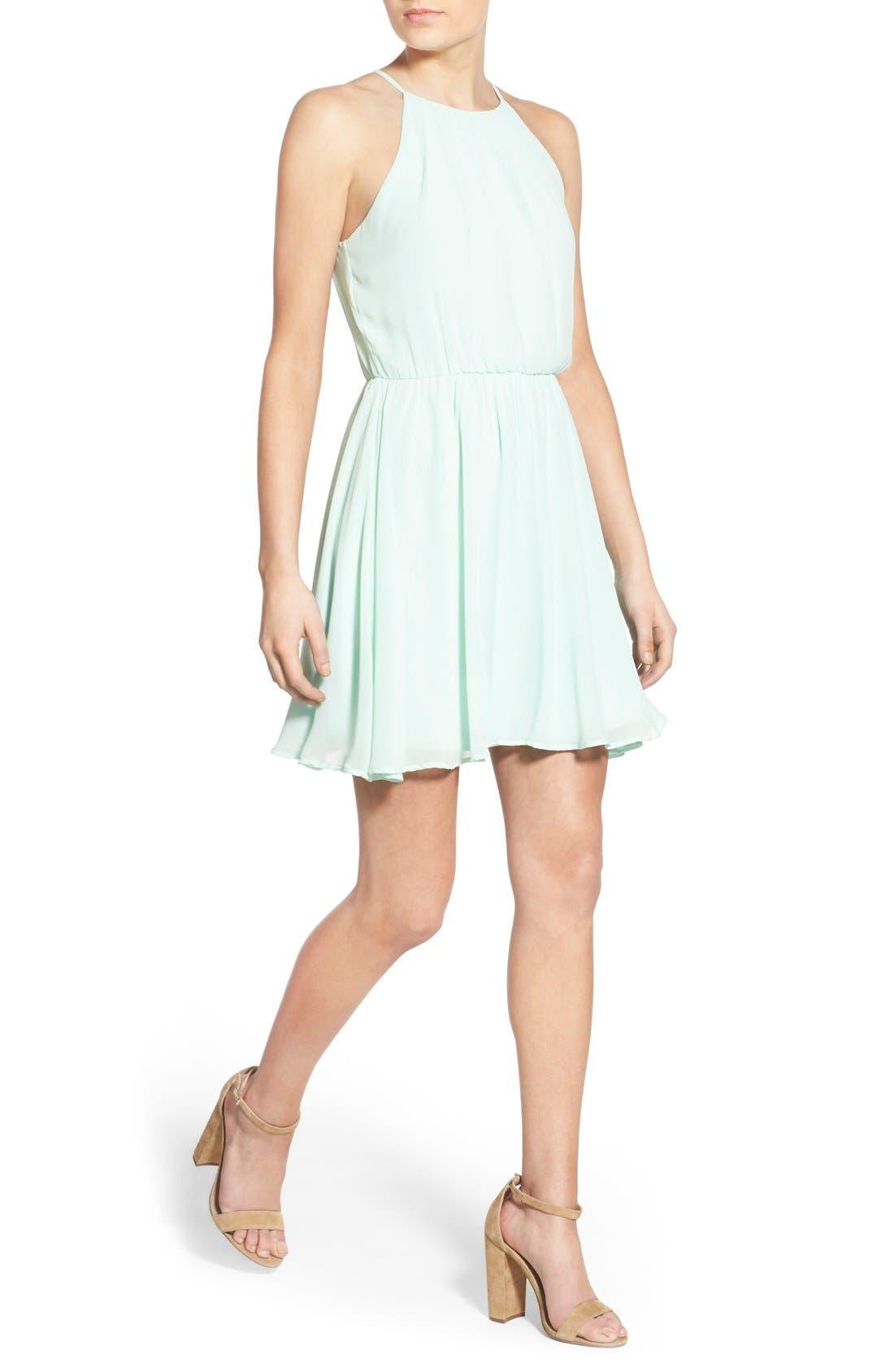 Blouson Chiffon Skater Dress,                             Alternate thumbnail 183, color,