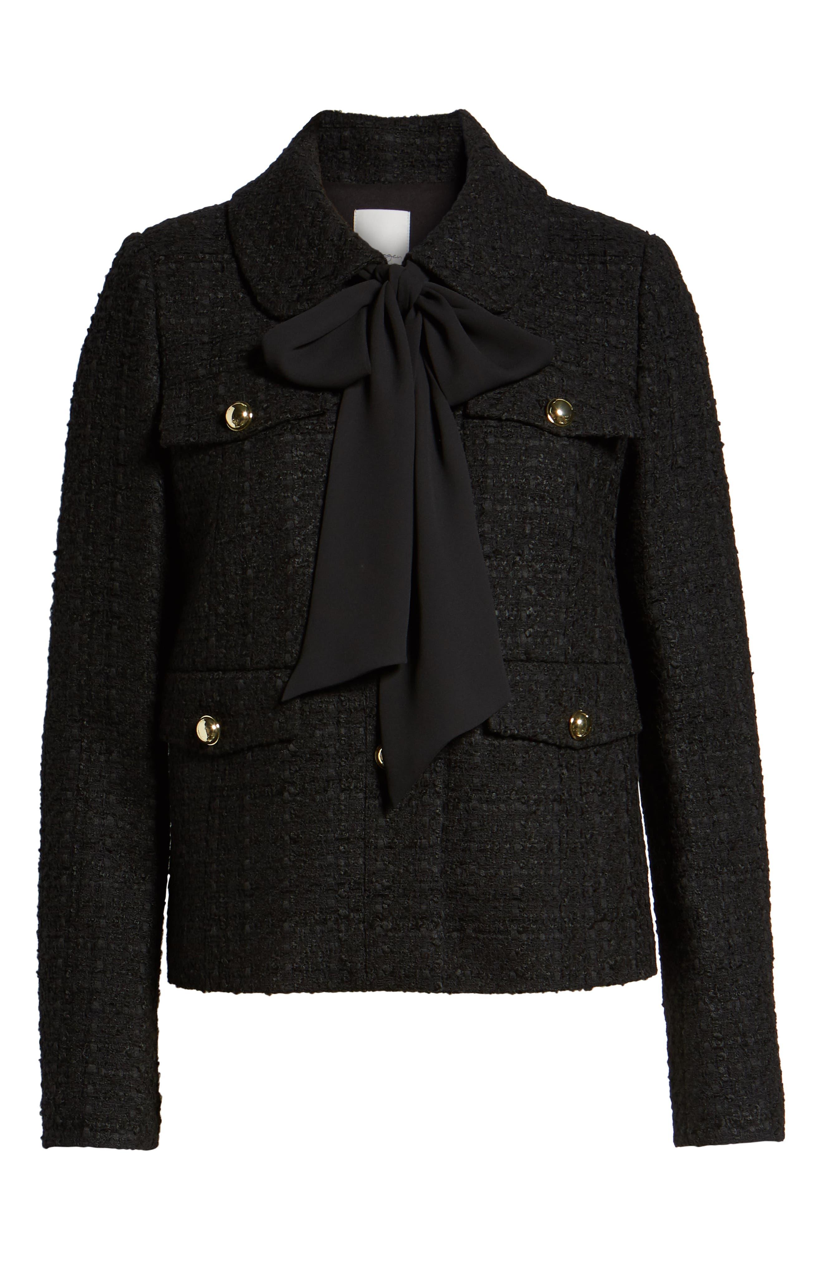 x Atlantic-Pacific Bow Detail Tweed Jacket,                             Alternate thumbnail 7, color,                             BLACK