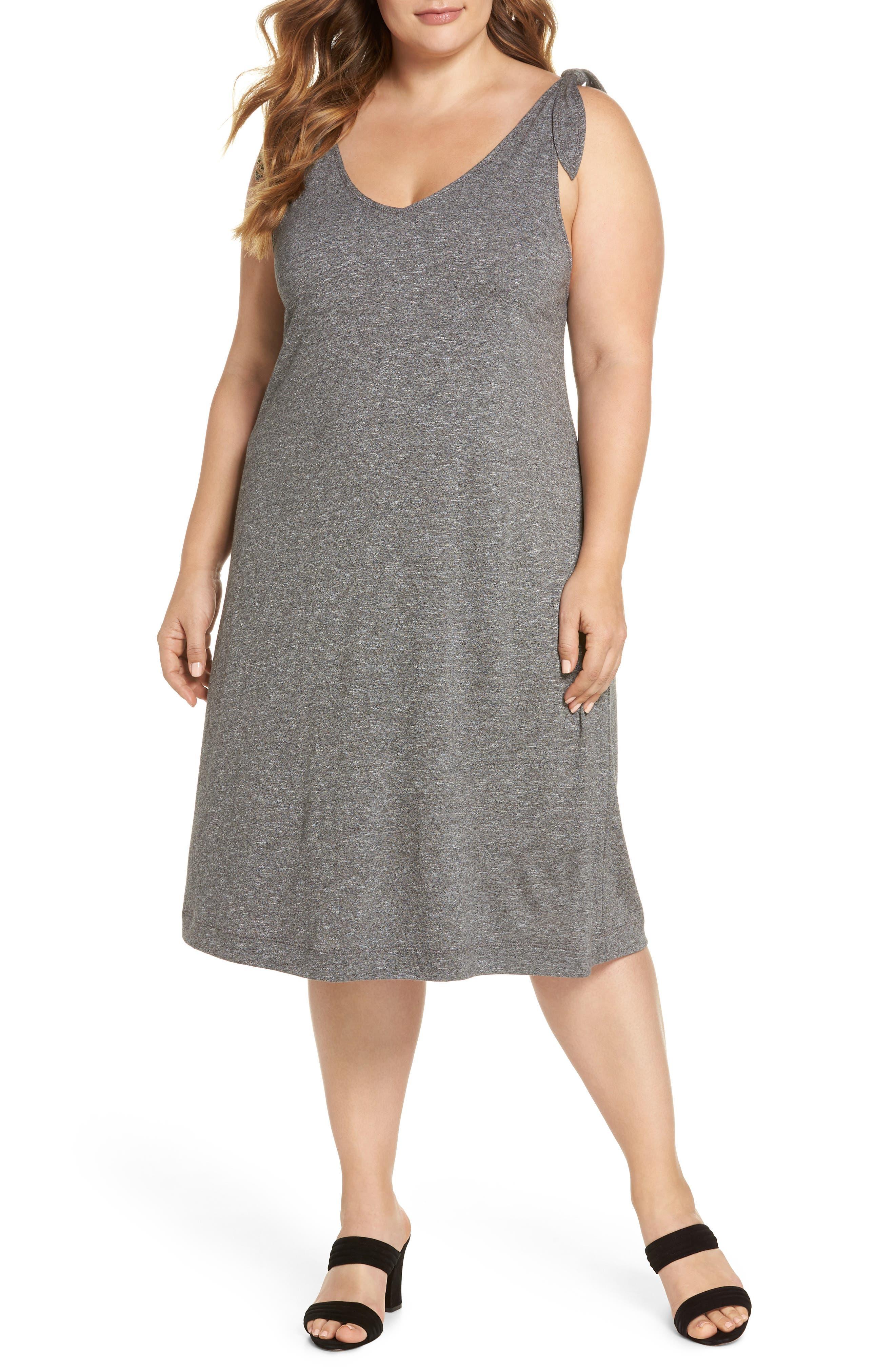 Knot Strap Knit Swing Dress,                         Main,                         color, 030