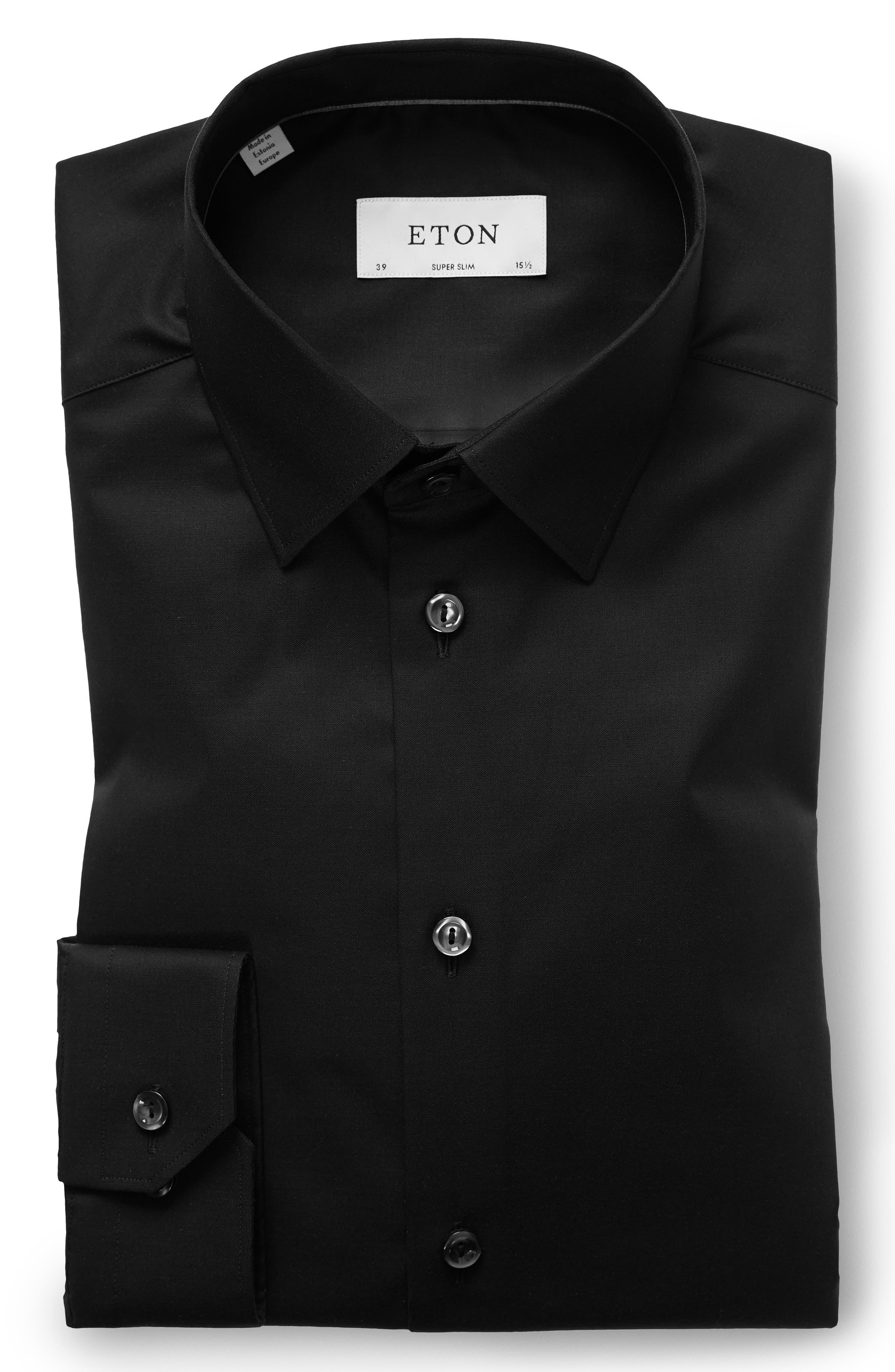 Super Slim Fit Solid Dress Shirt,                             Alternate thumbnail 5, color,                             BLACK