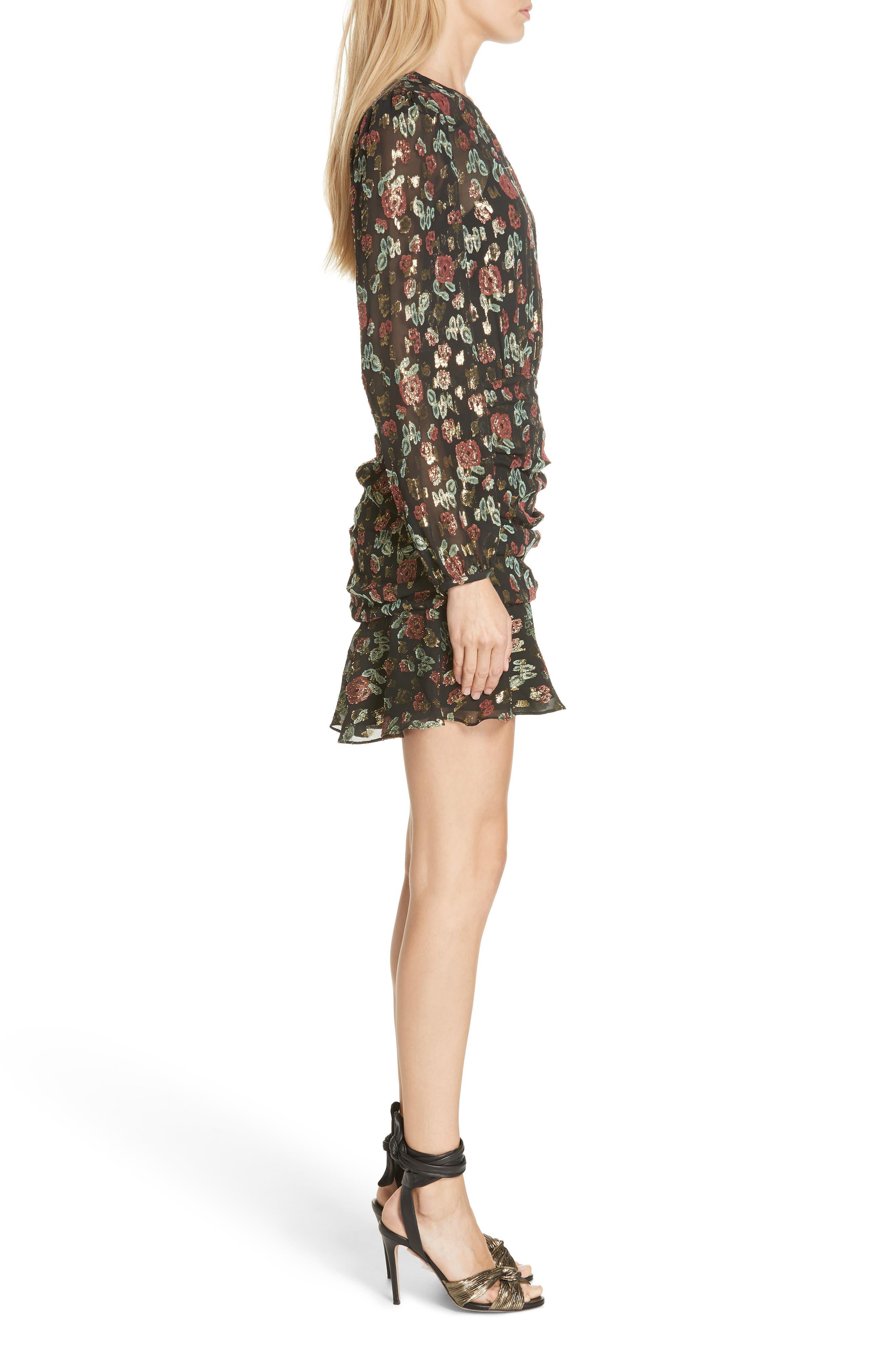 Robin Silk Blend Jacquard Minidress,                             Alternate thumbnail 3, color,                             001