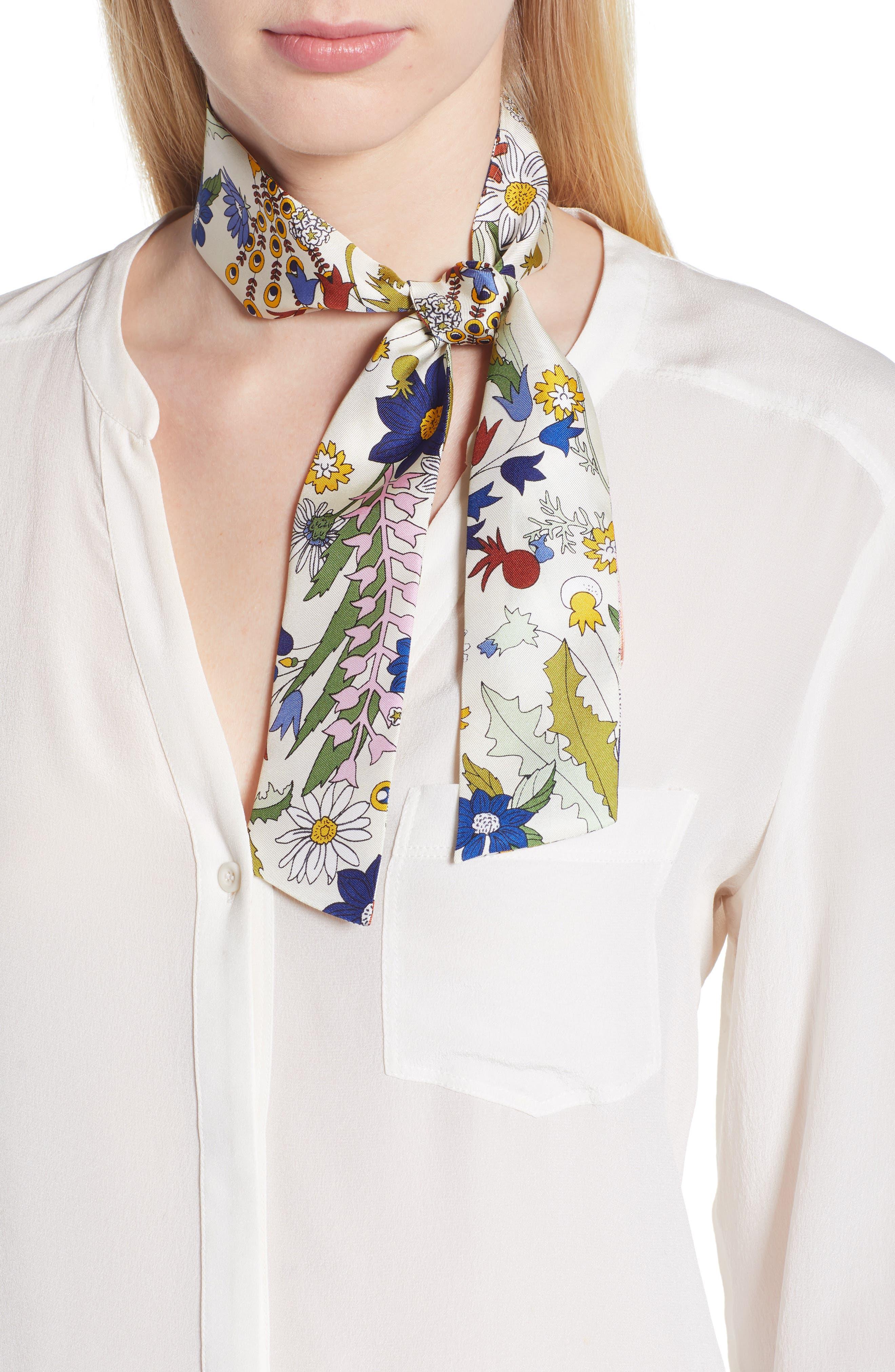 Meadow Folly Silk Twill Scarf,                         Main,                         color, 900