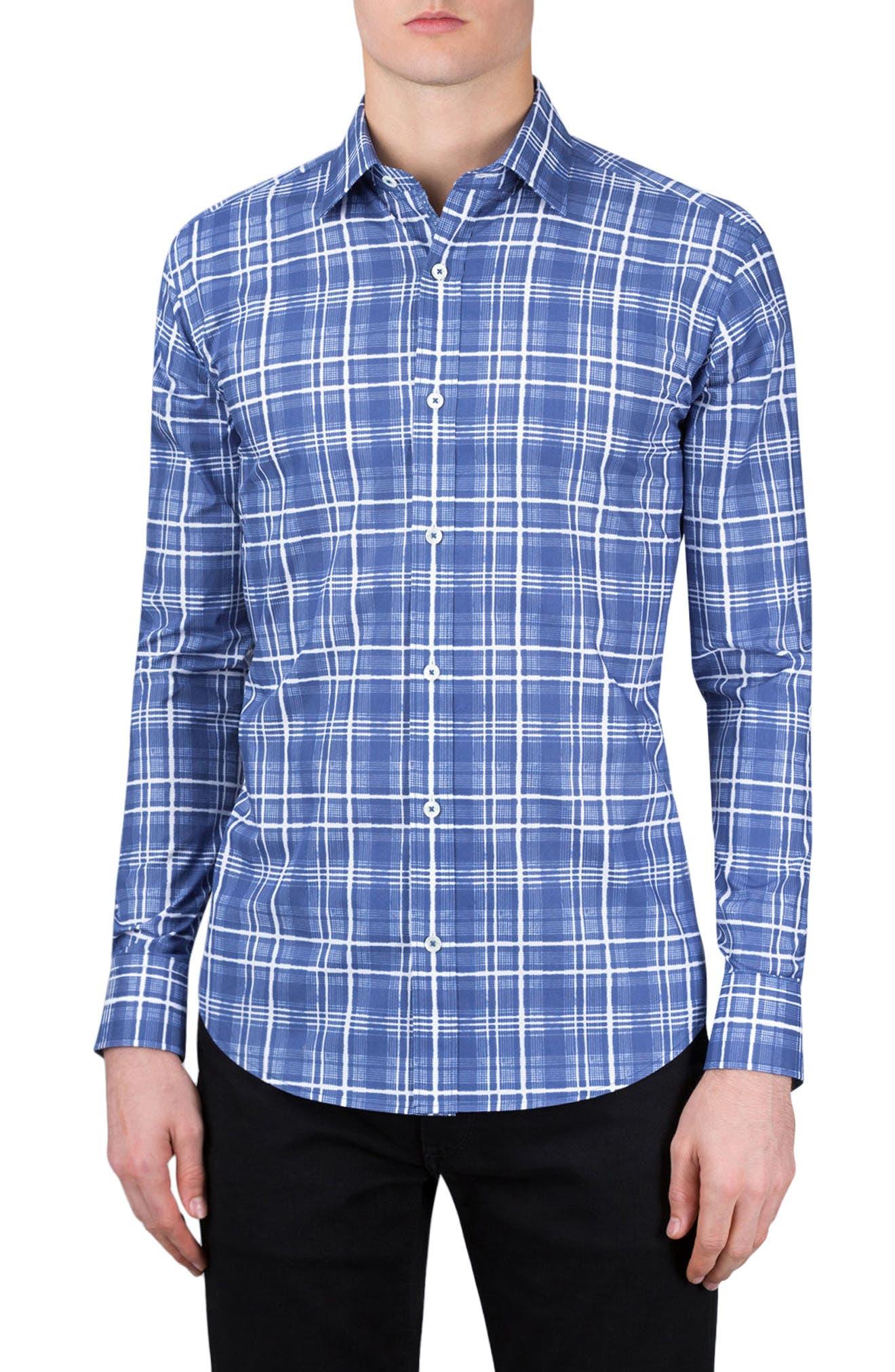 Shaped Fit Check Sport Shirt,                             Main thumbnail 1, color,                             411