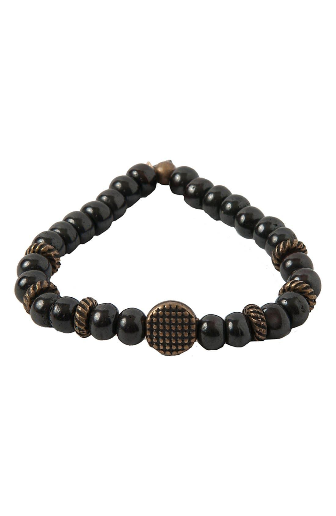 Wood & Brass Stretch Bracelet,                             Main thumbnail 1, color,                             001