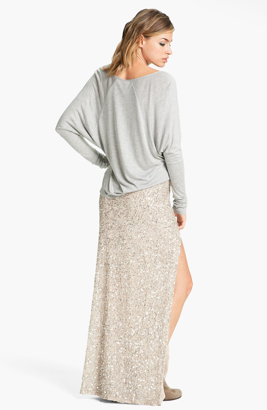 HAUTE HIPPIE,                             Embellished Maxi Skirt,                             Alternate thumbnail 3, color,                             040