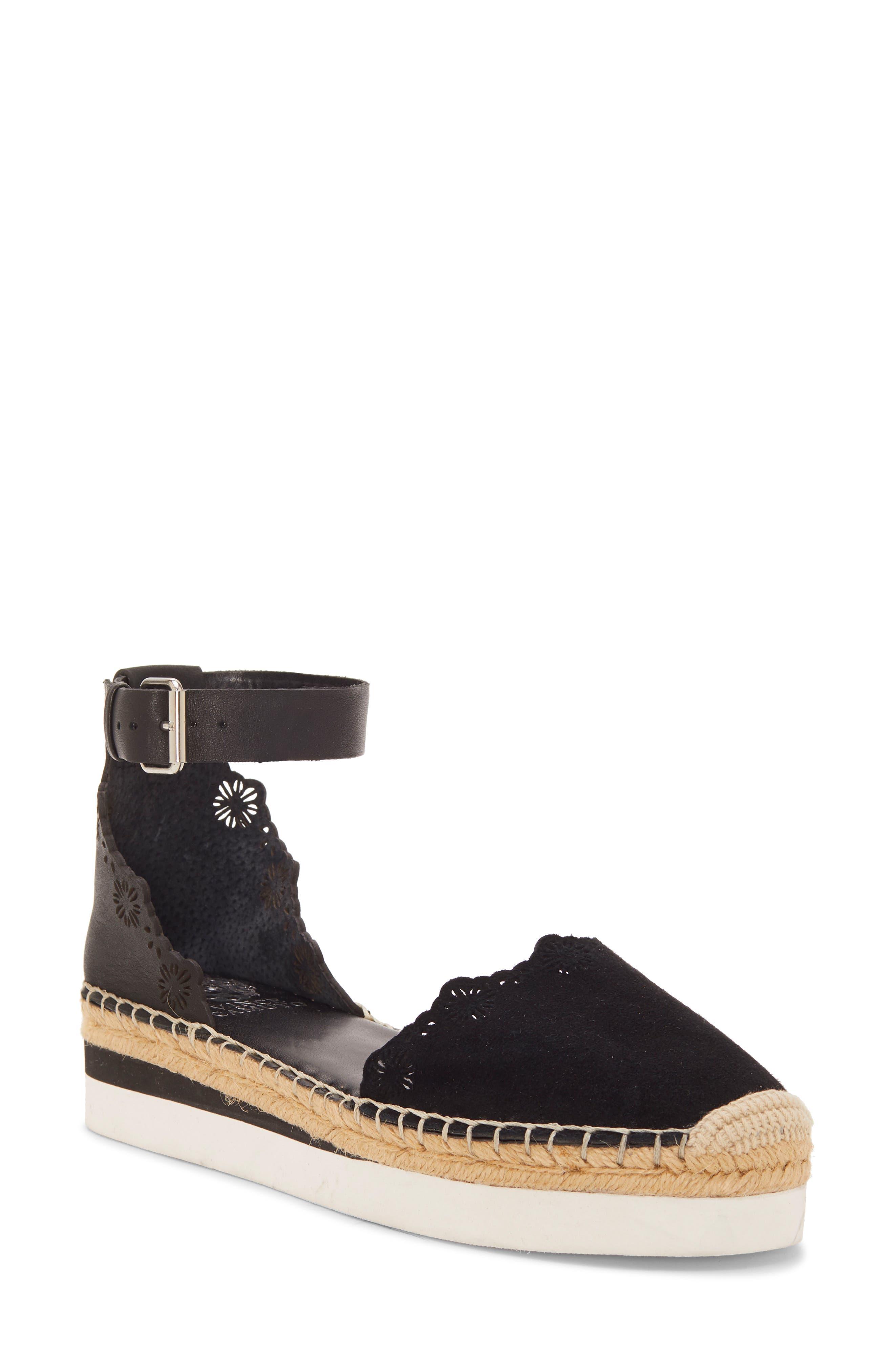 VINCE CAMUTO Breshan Ankle Strap Espadrille Wedge, Main, color, BLACK SUEDE