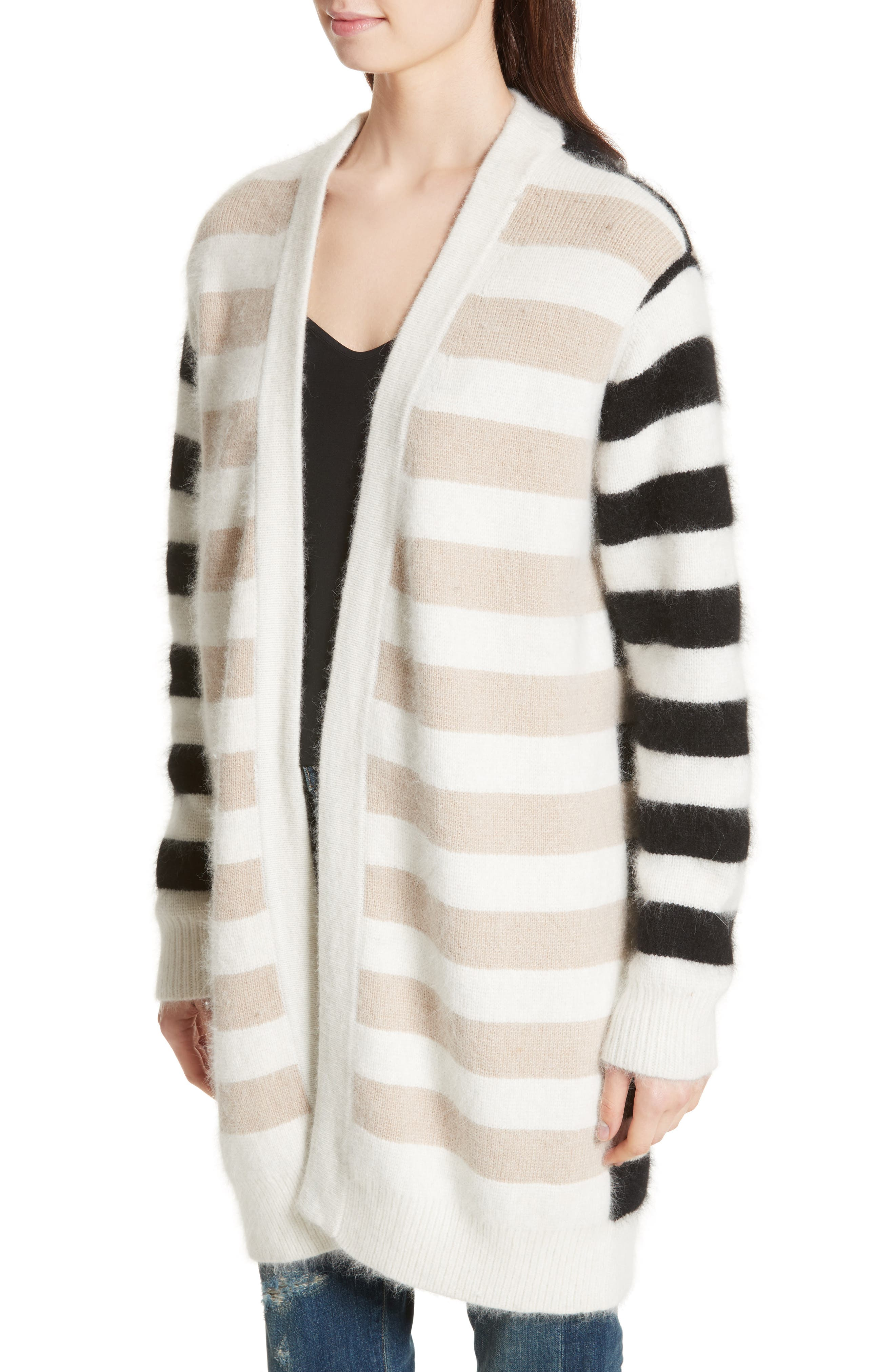 Stripe Oversize Cardigan,                             Alternate thumbnail 4, color,                             001