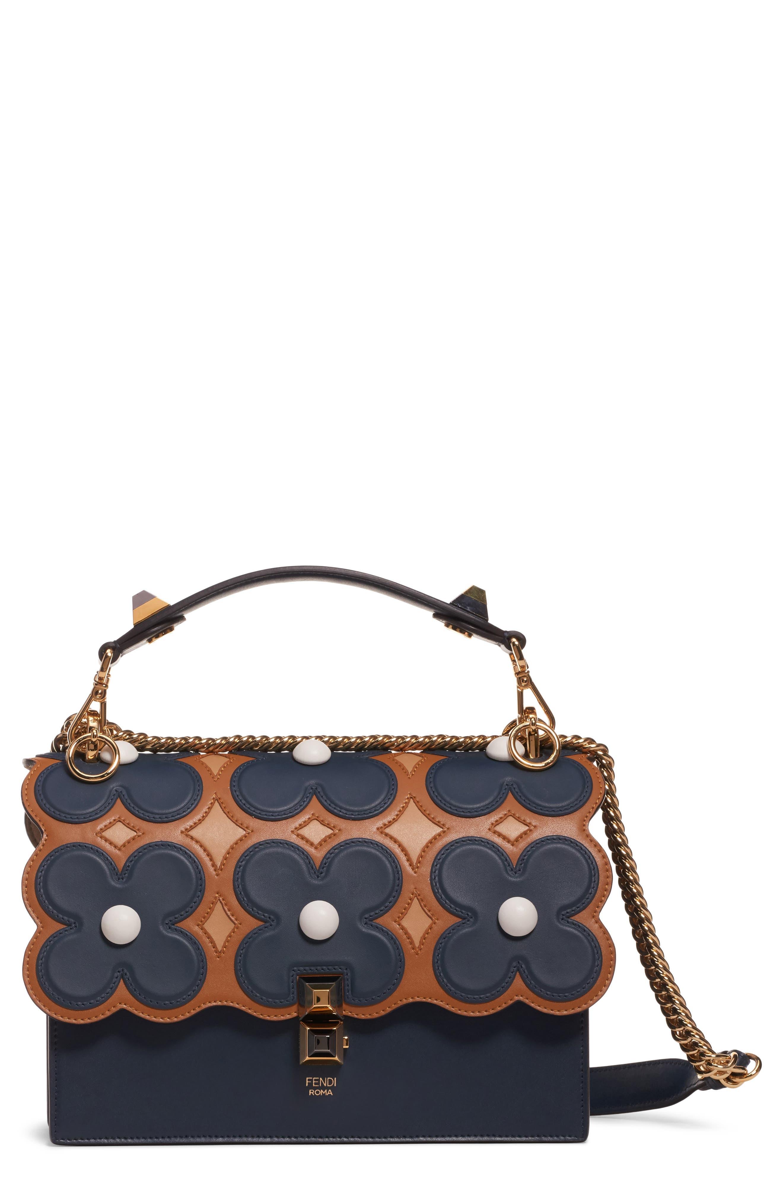 FENDI Kan I Liberty Flower Leather Shoulder Bag, Main, color, NOTTURNO