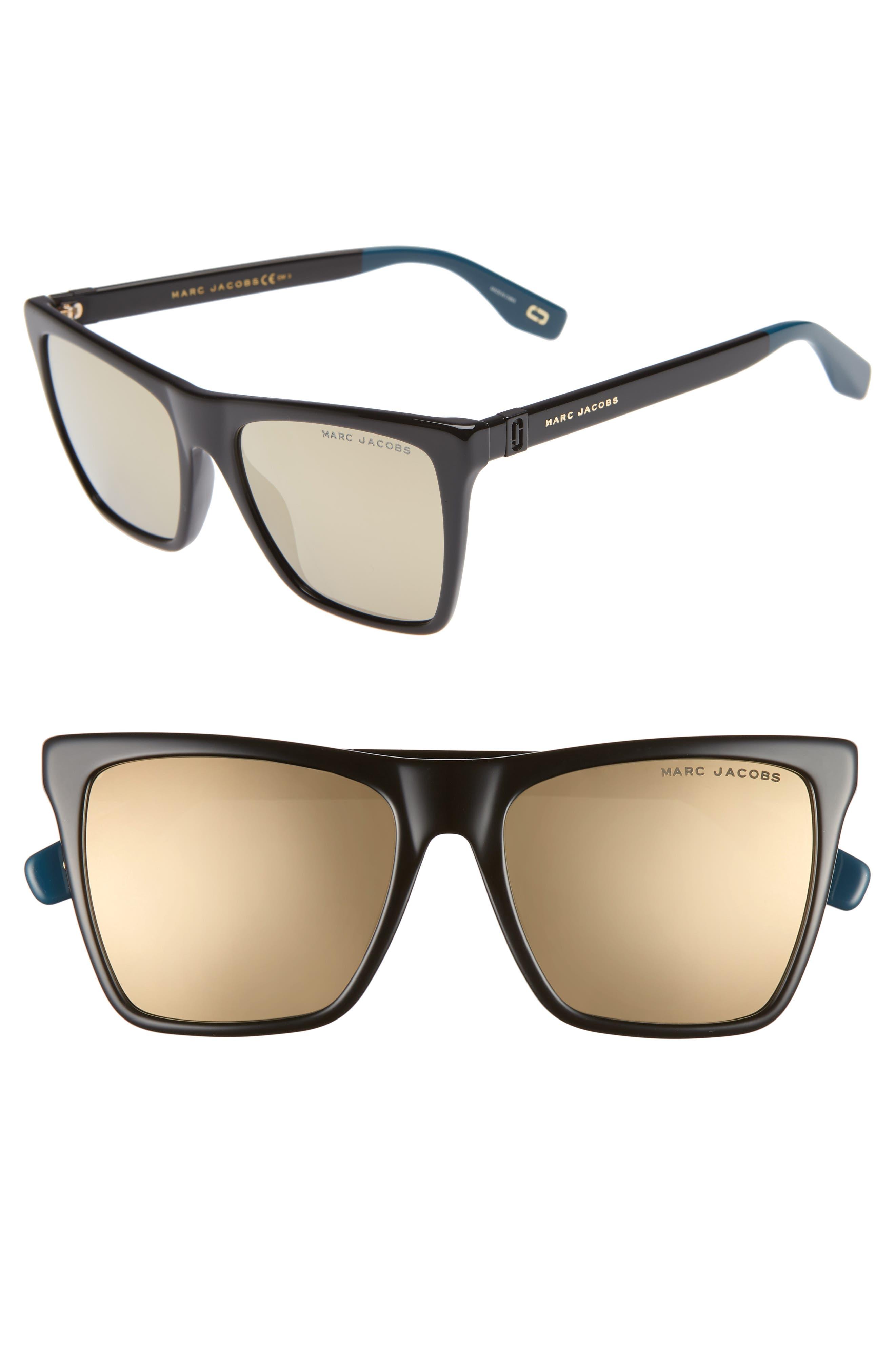 54mm Square Sunglasses,                             Main thumbnail 1, color,                             BLACK/ GOLD